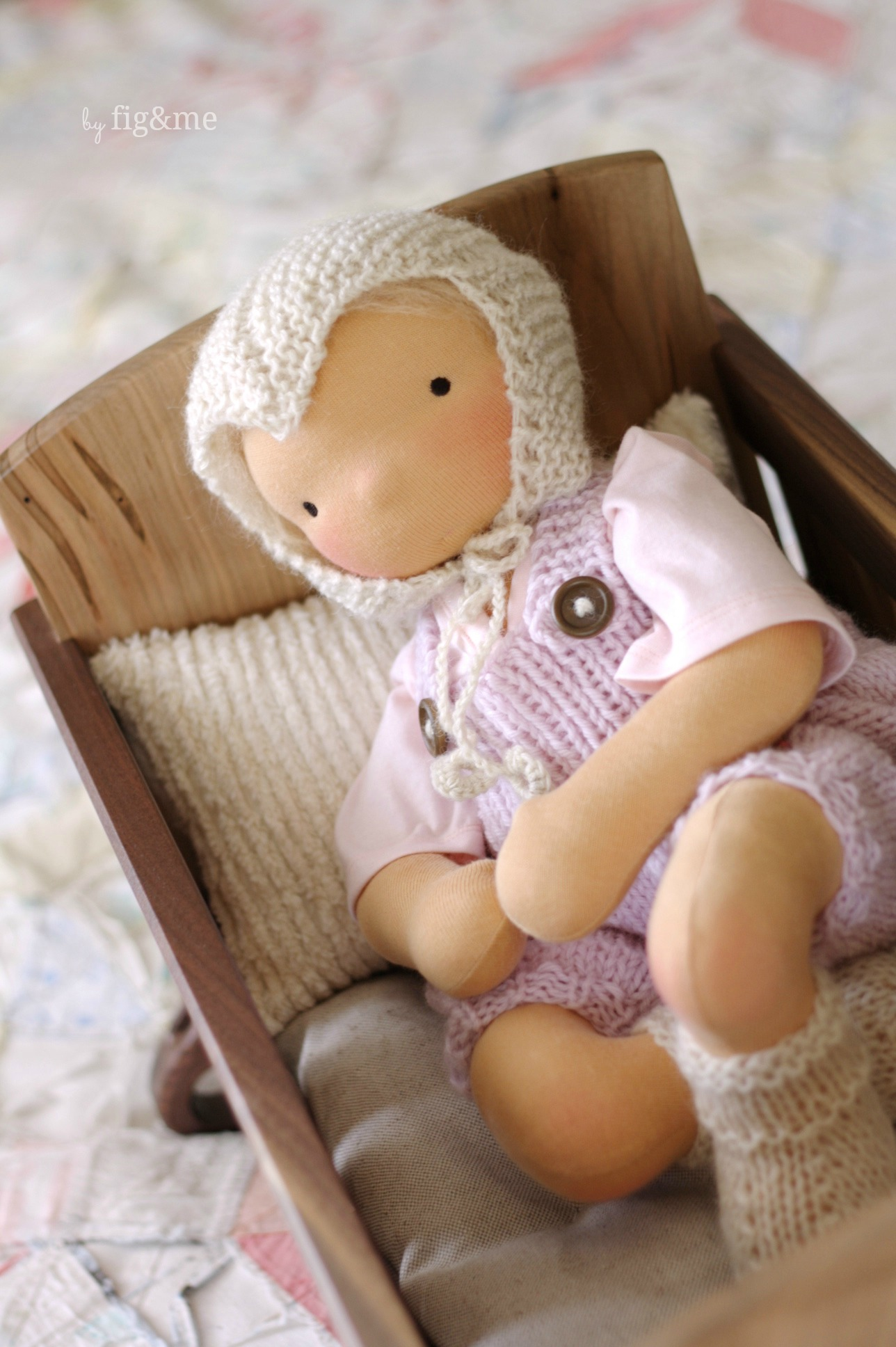 Baby Lou and her hand knit clothes, by Fig&me