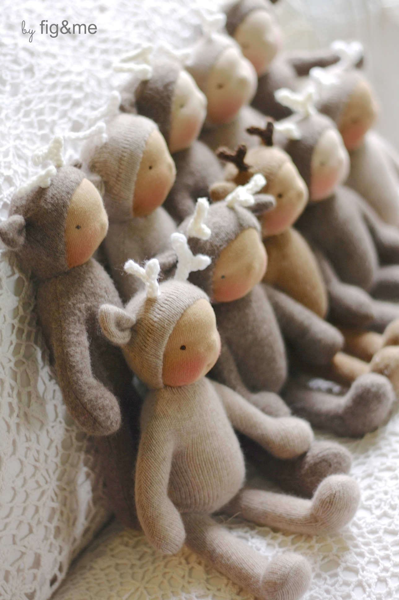 Cashmere and Merino, with ears and gentle smiles. By Fig and Me.