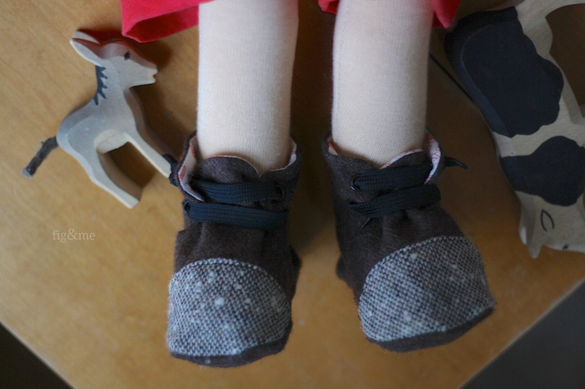 Wool boots, by Fig and Me.