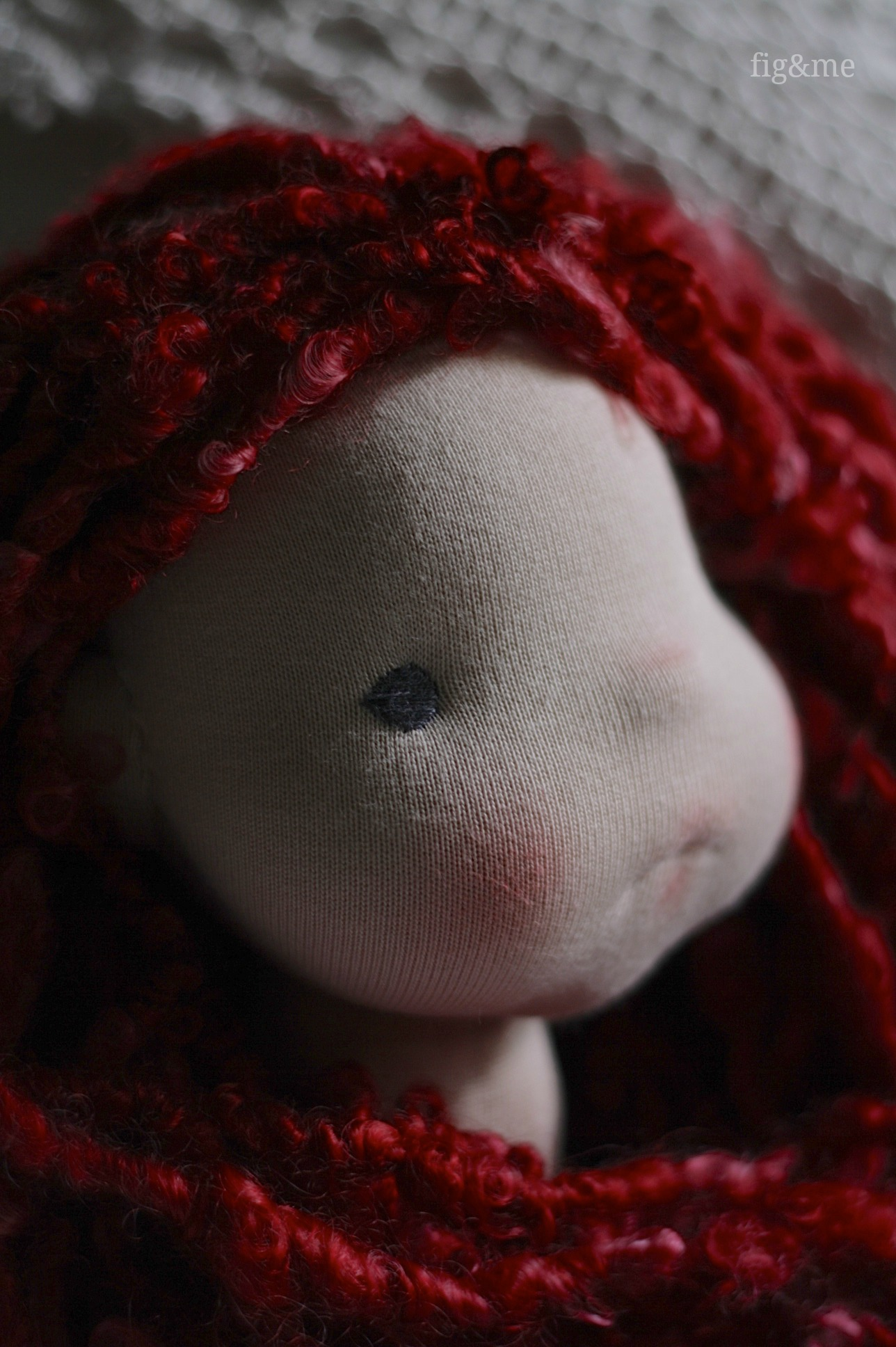 Needle felted sculpted face, by Fig and Me.