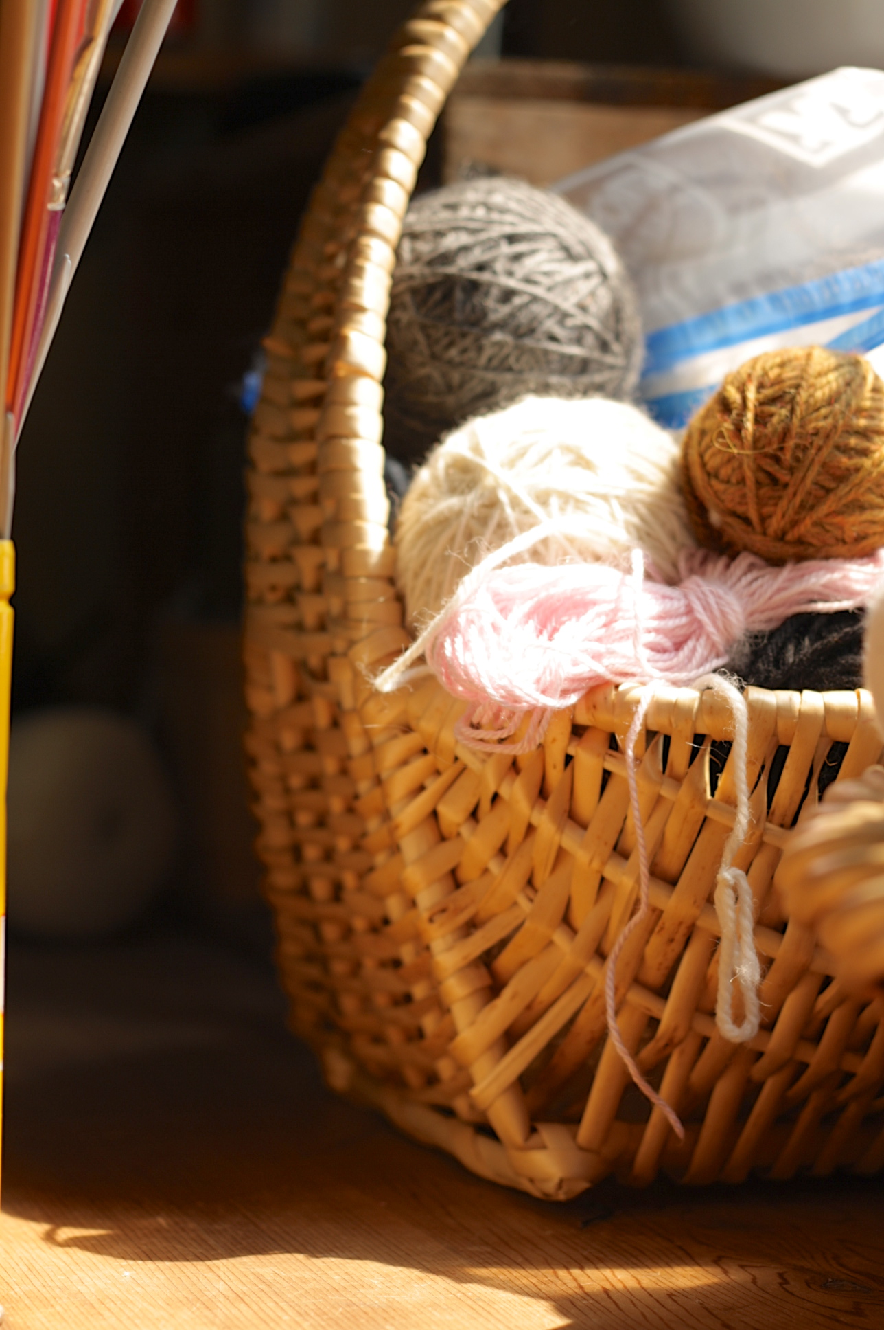 A basket of wool, by Fig and Me.