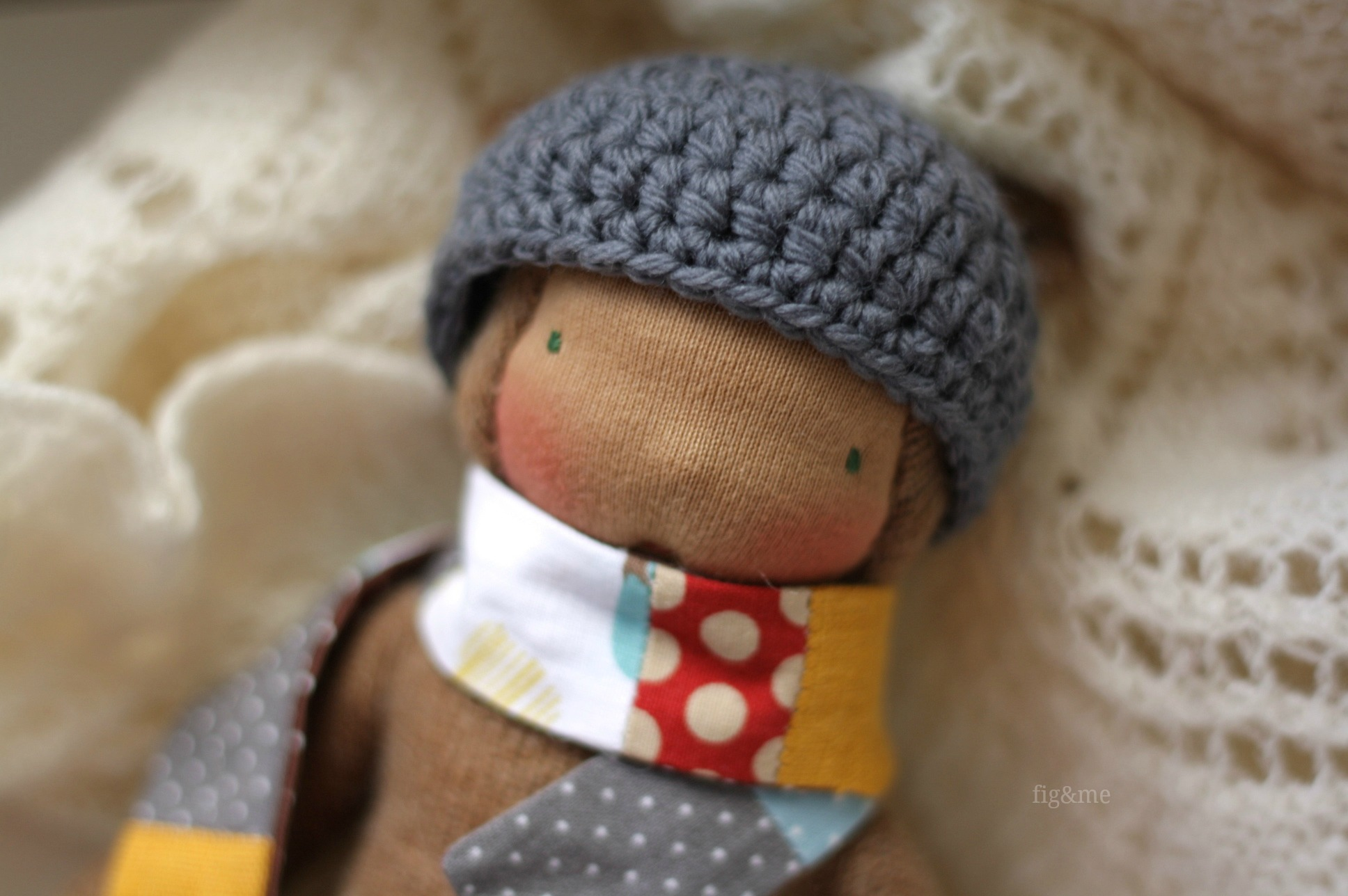Wearing patchwork scarves and cozy hats, by Fig and me.