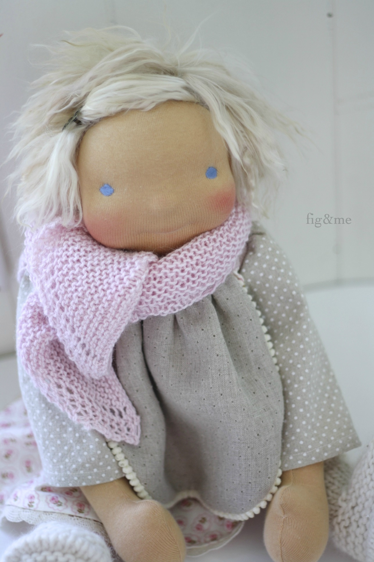 Hand knit silk shawl for the girl who loves pink, by Fig and Me.