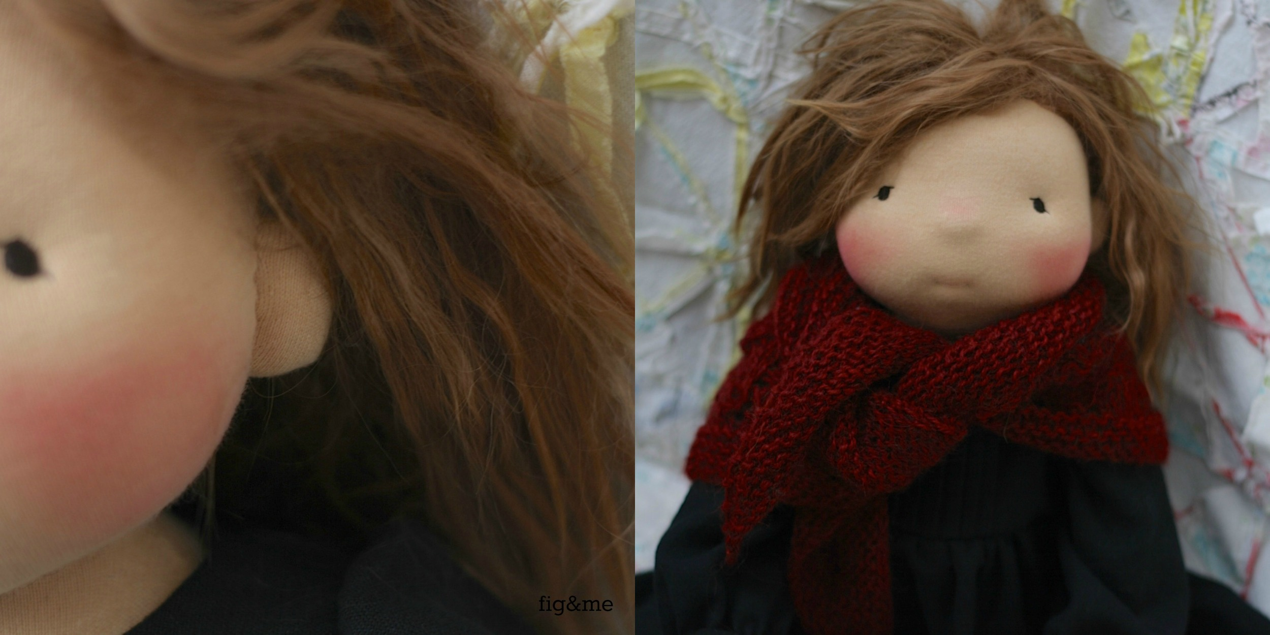 A little ear to listen to the snow fall, her peddler shawl. By Fig and me.