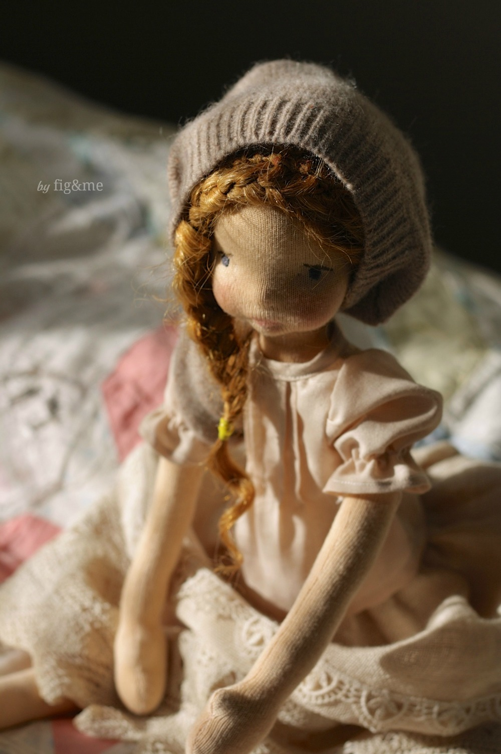 """Melina, a 16"""" Mannikin style doll by Fig and Me."""