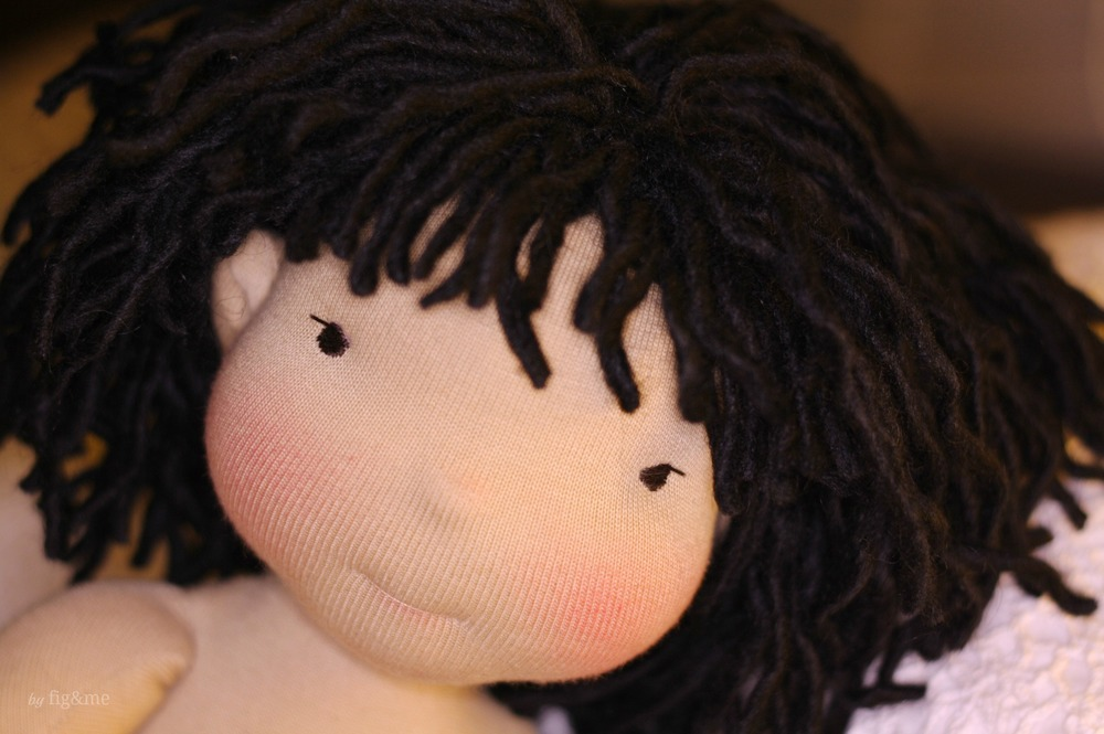 """Mis Mei-Mae-May, a 20"""" tall figlette style doll by Fig and Me."""