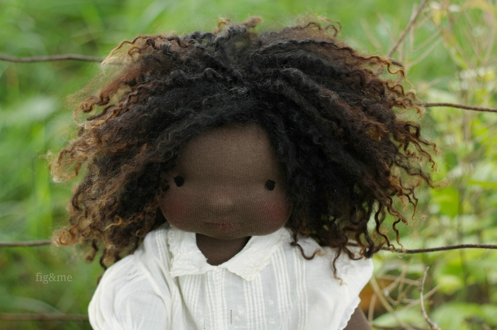 """Little Ivy, a 20"""" tall figlette doll by Fig and Me."""