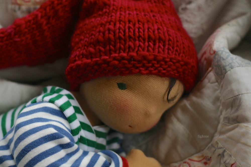 """Thorpe, a 14"""" baby-style doll by Fig and Me."""