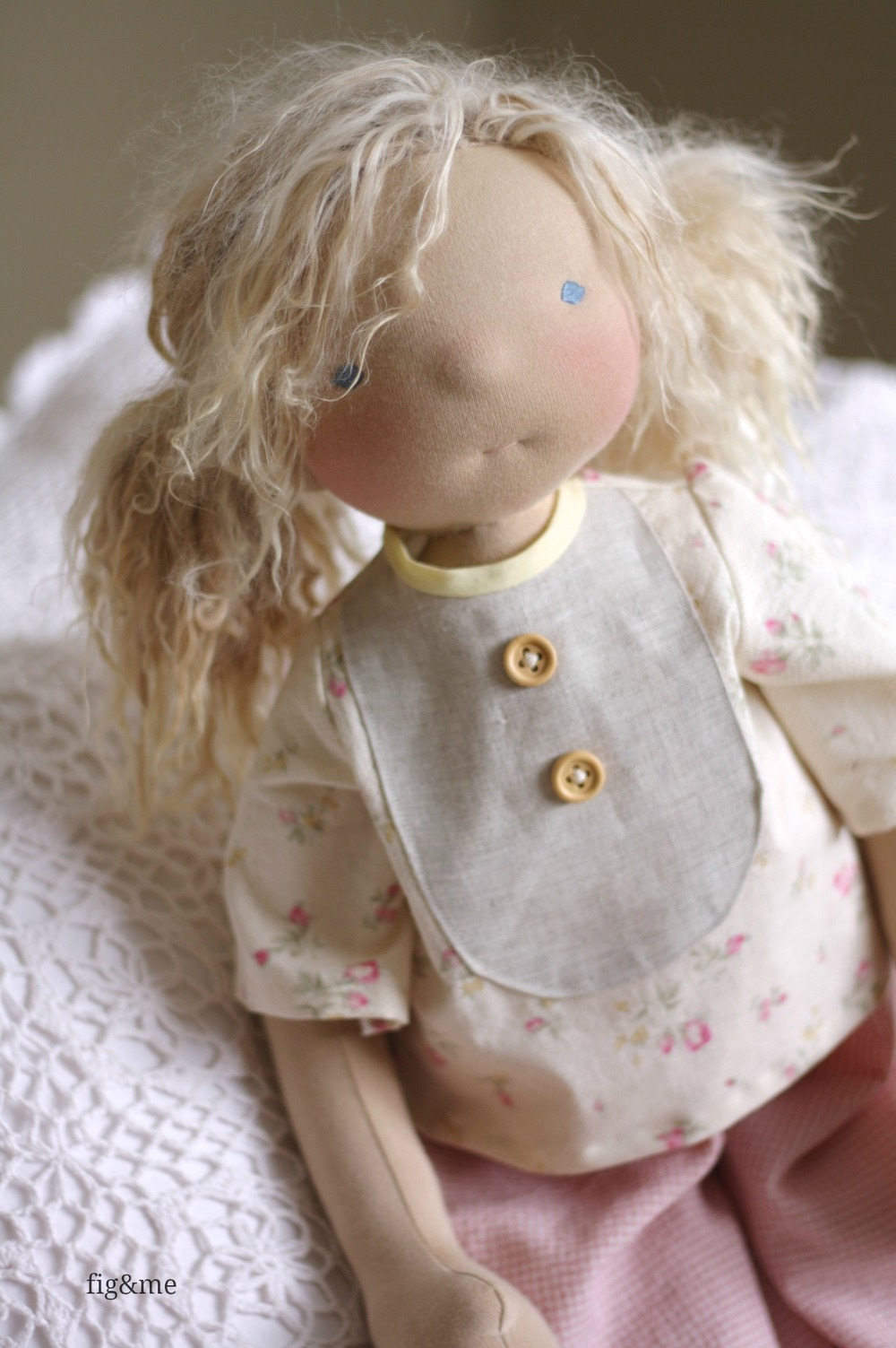 """Beatrice, a 23"""" tall custom figlette doll by Fig and Me."""