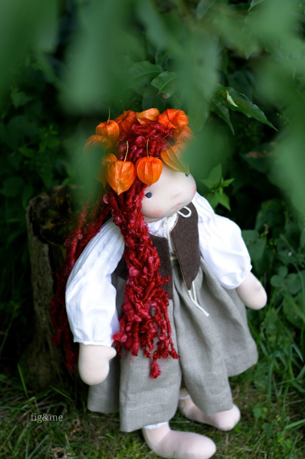 """Poppy and her wreath, a 23"""" custom figlette by Fig and Me."""