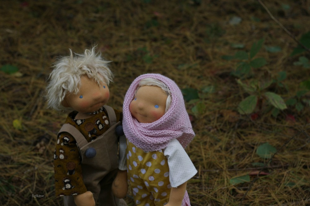 """Cowan and Chloe, a siblings set of 20"""" figlette custom dolls by Fig and Me."""