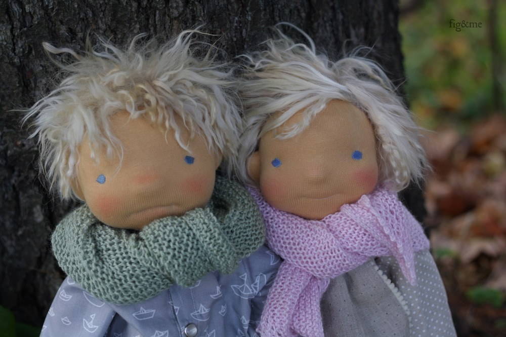"""Cowan and Chloe, two 20"""" tall custom figlette dolls by Fig and Me."""