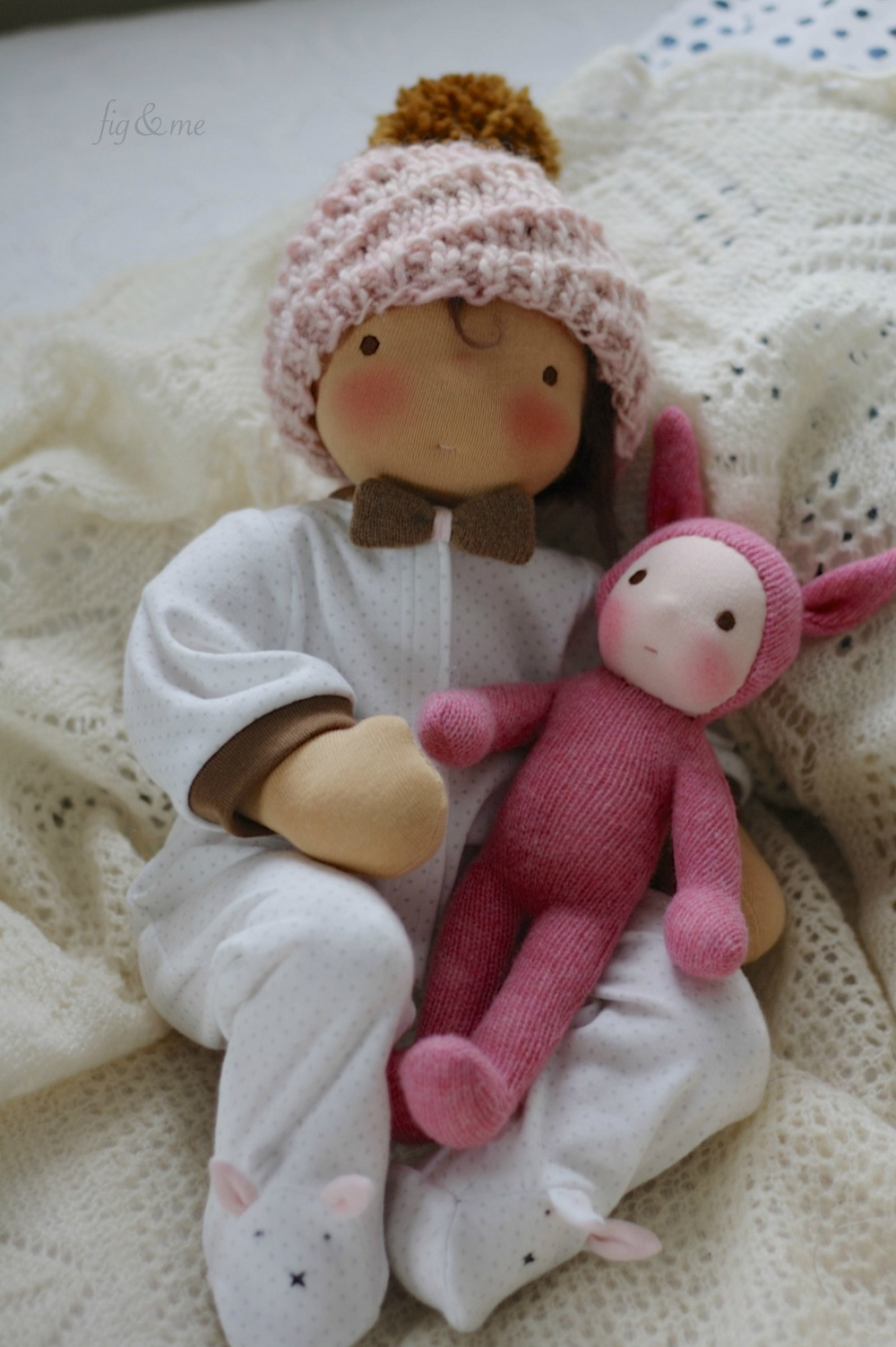 """Baby M, a 14"""" baby-style custom doll by Fig and me."""