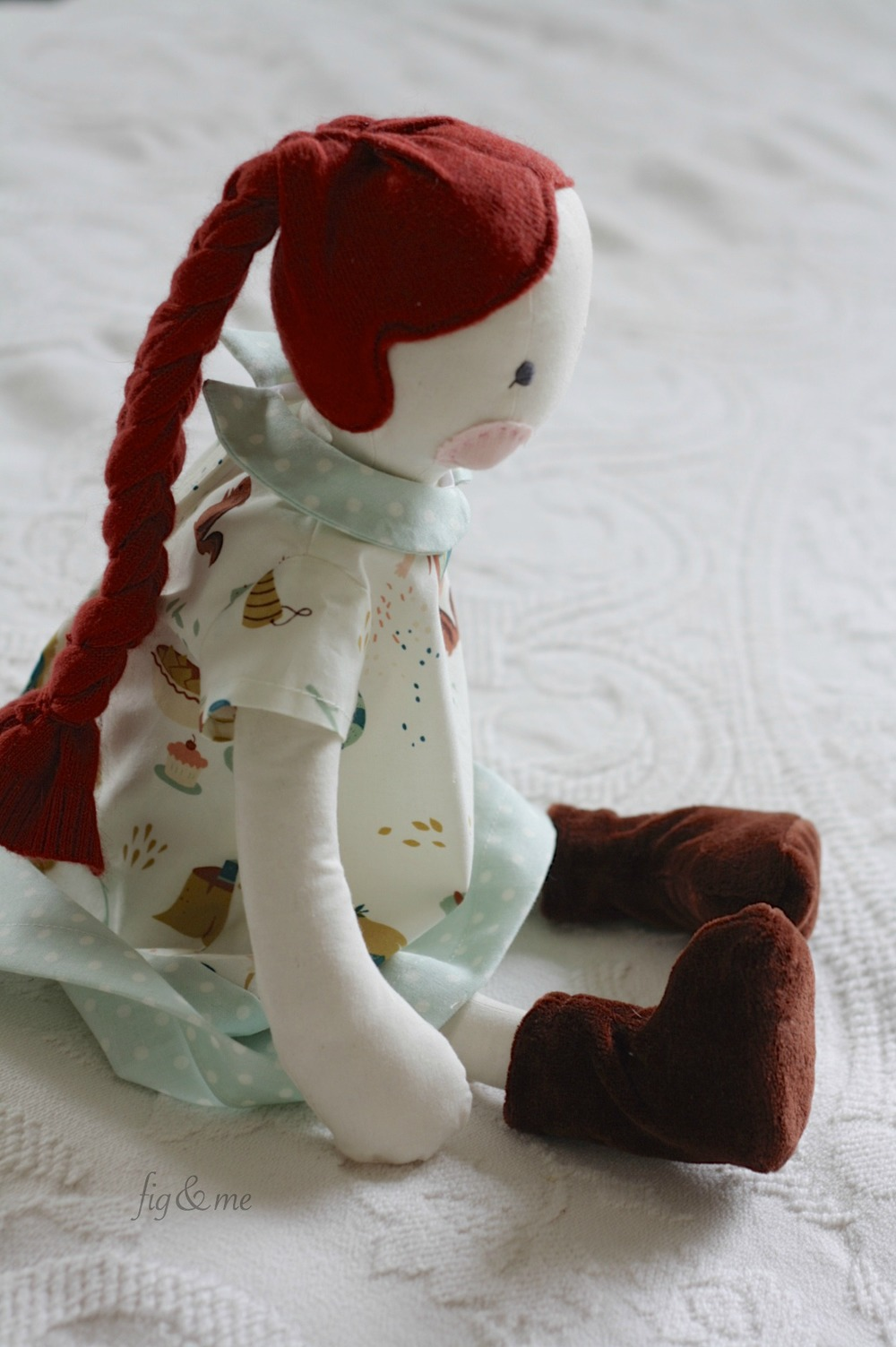 Florence, a cloth fig doll by Fig and Me.