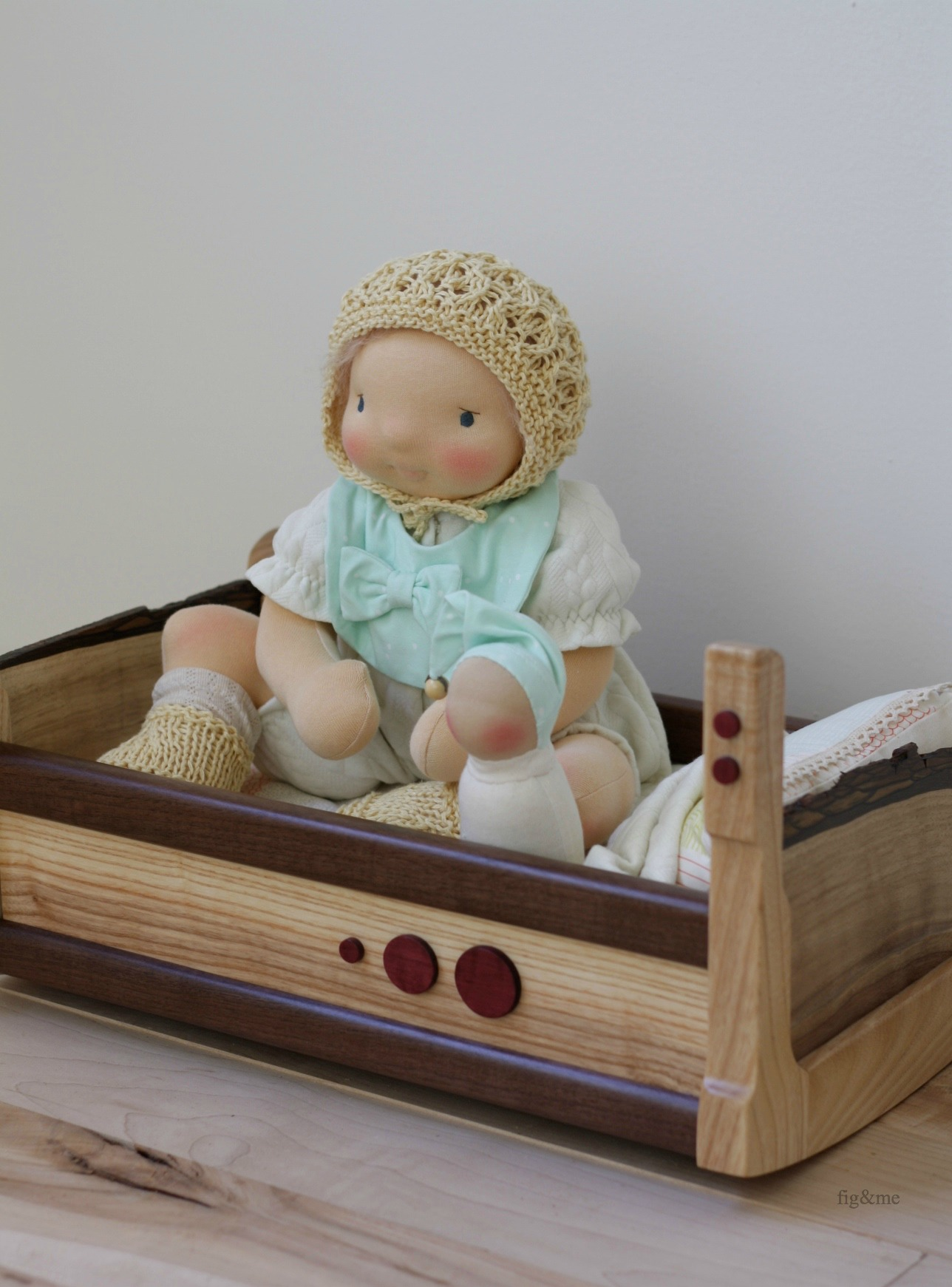 Robina and her wooden cradle, by Fig and me.