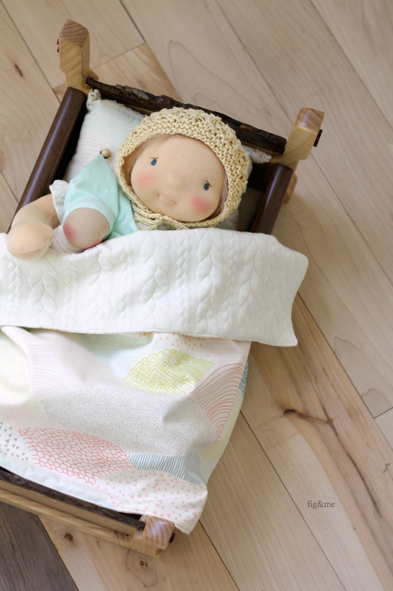 Robina and her wooden cradle, by Fig and me