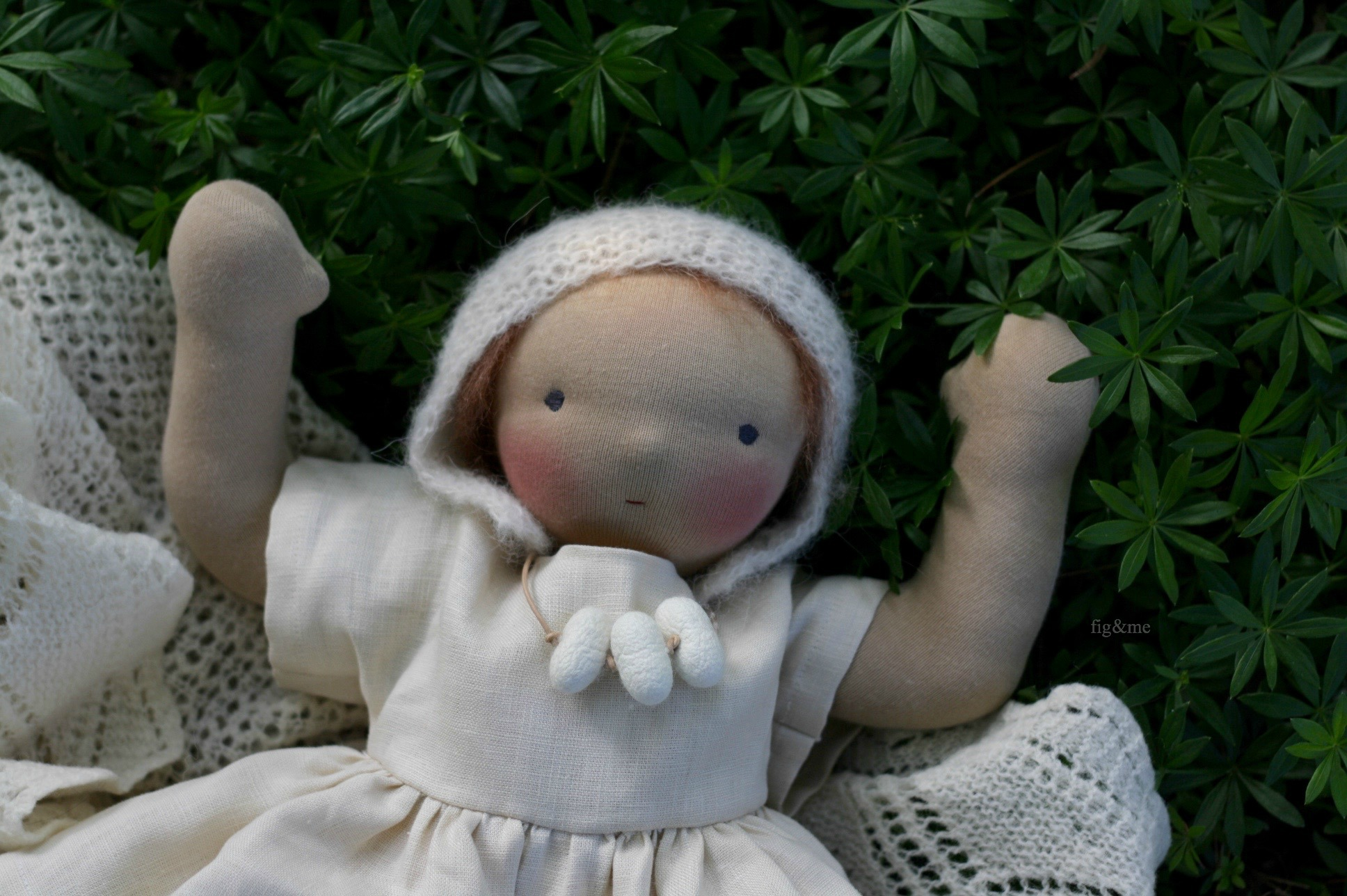 Elderflower, natural baby doll by Figandme.