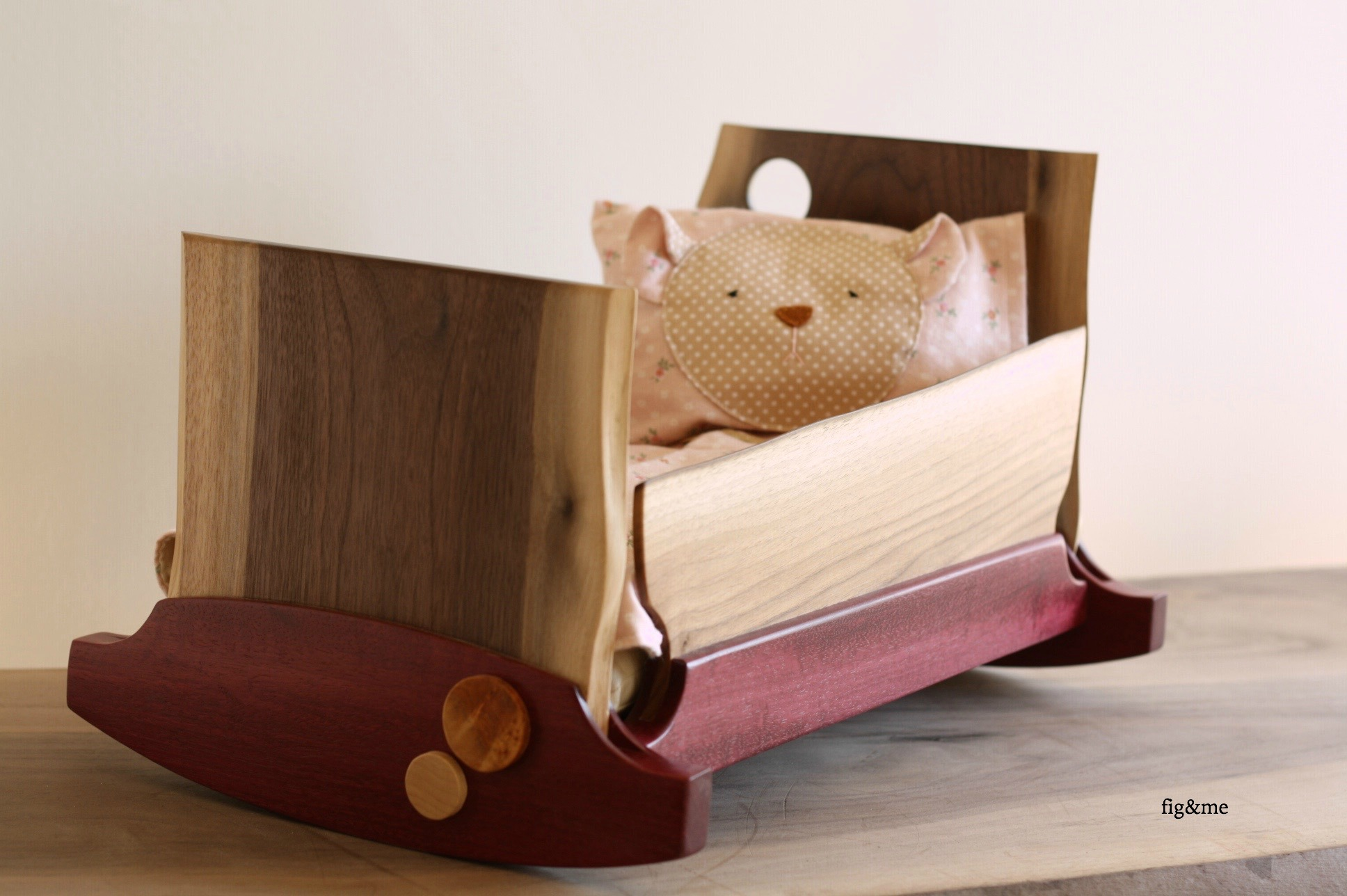 Wooden doll cradle, walnut and purple heart, by Fig and me.