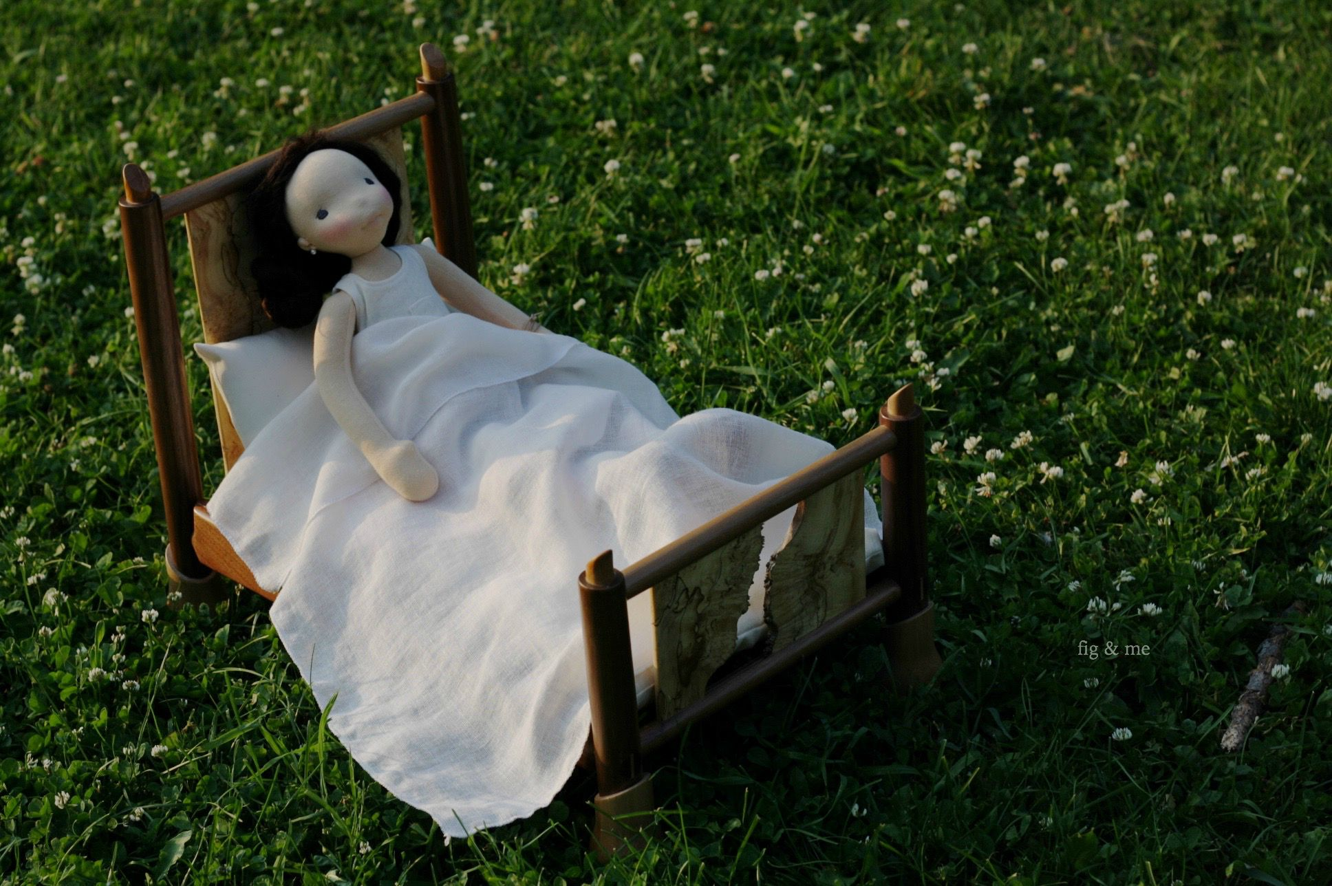 Ooak wooden doll bed by Fig and me
