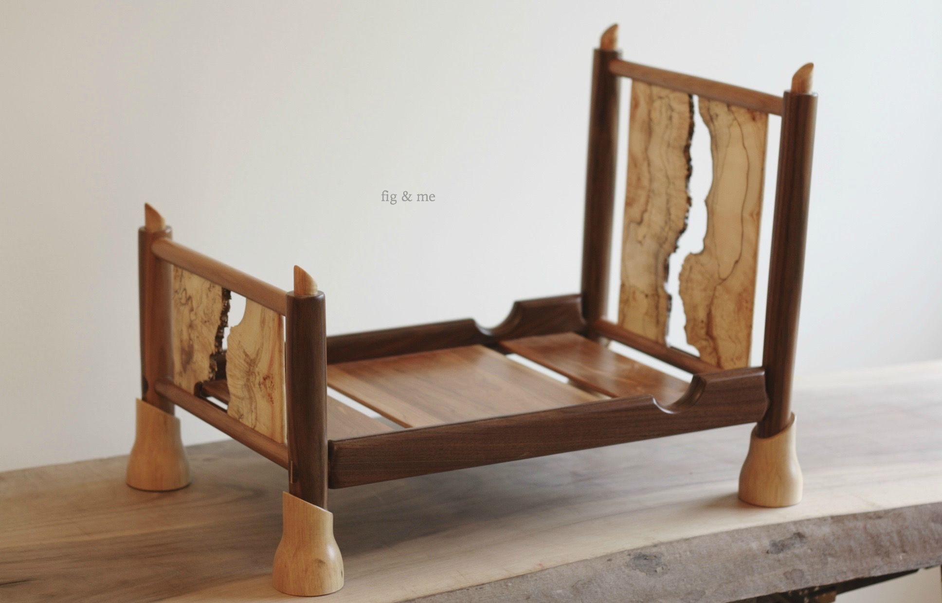 Wooden doll bed by Fig and me
