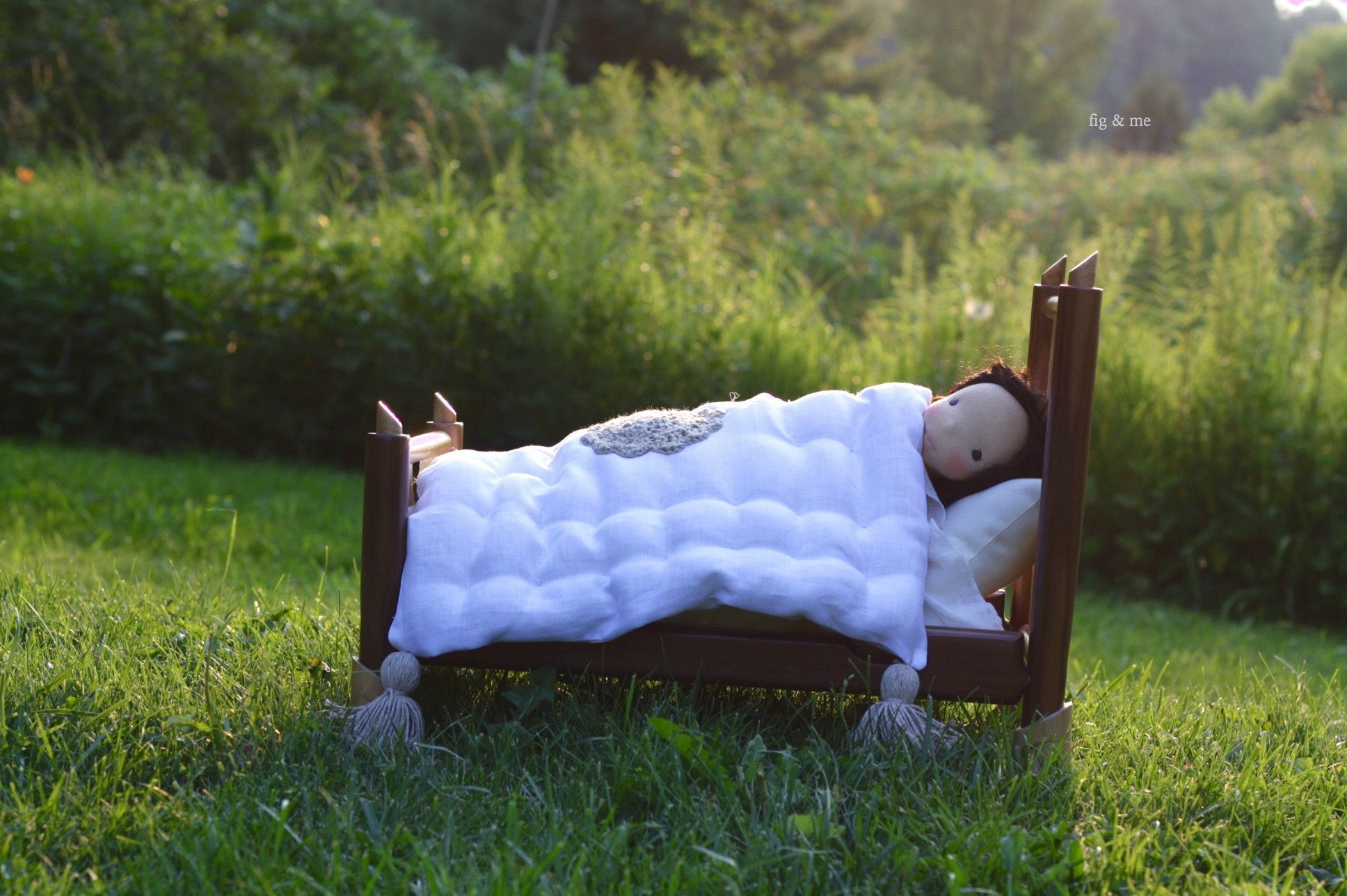 Handmade wooden doll bed by Fig and me