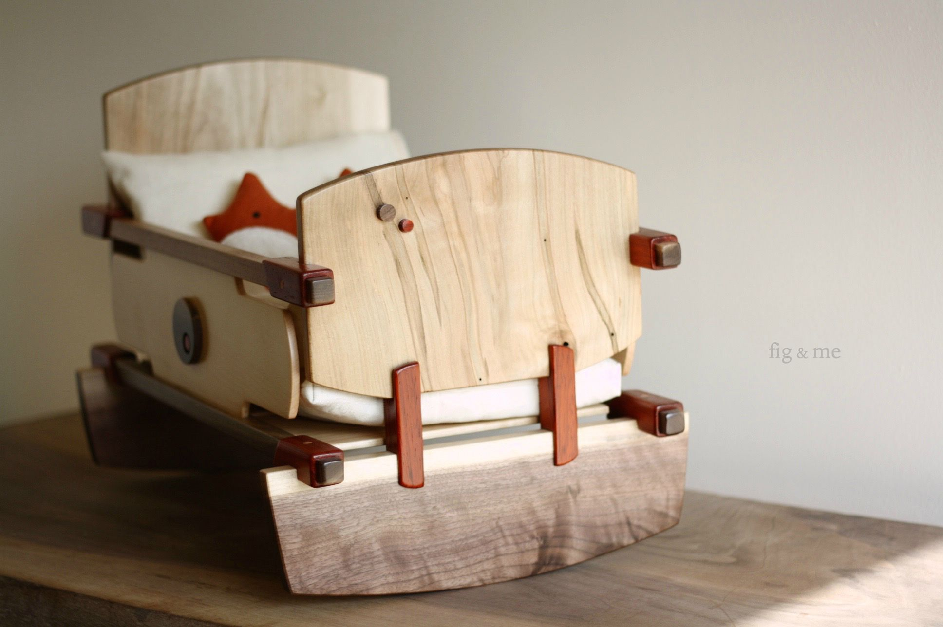 Wooden doll crib by Fig and me
