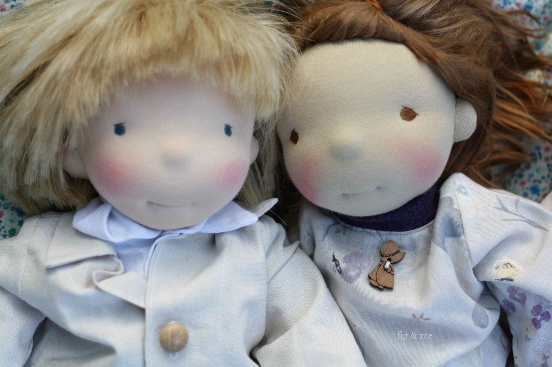 Brother and sister, two custom natural cloth dolls, waldorf inspired. By Fig and Me.