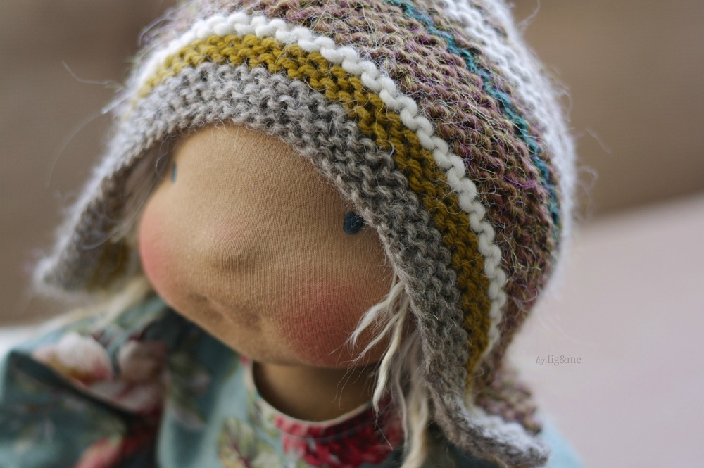 """Helena, a 17"""" figlette cloth doll by Fig and me."""