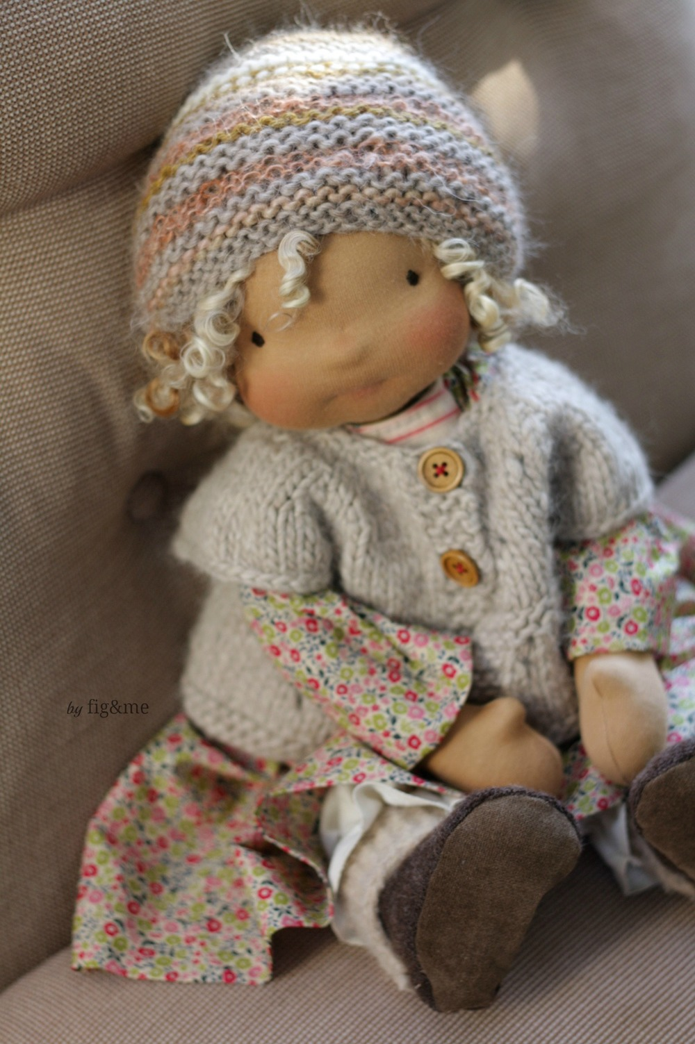 """Marushka, a 17"""" figlette cloth doll by Fig and me."""