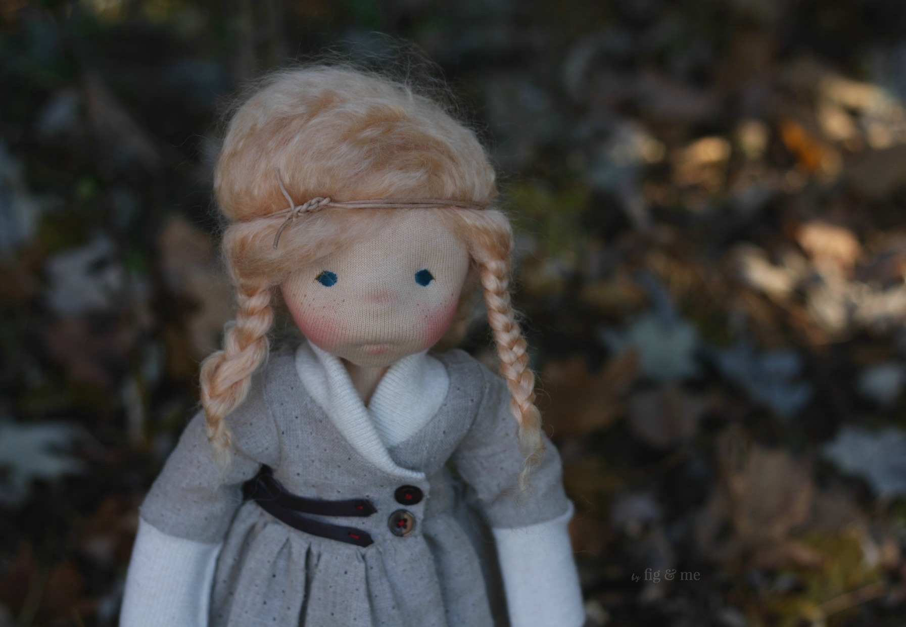 Iona watching the ducks. Natural fiber art doll by Fig and me.