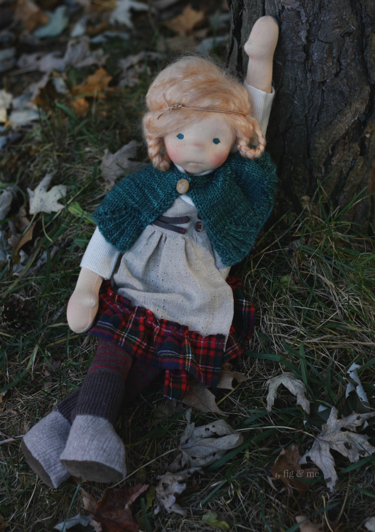 Iona, a natural fiber art doll, spending a lazy afternoon. By Fig and Me.