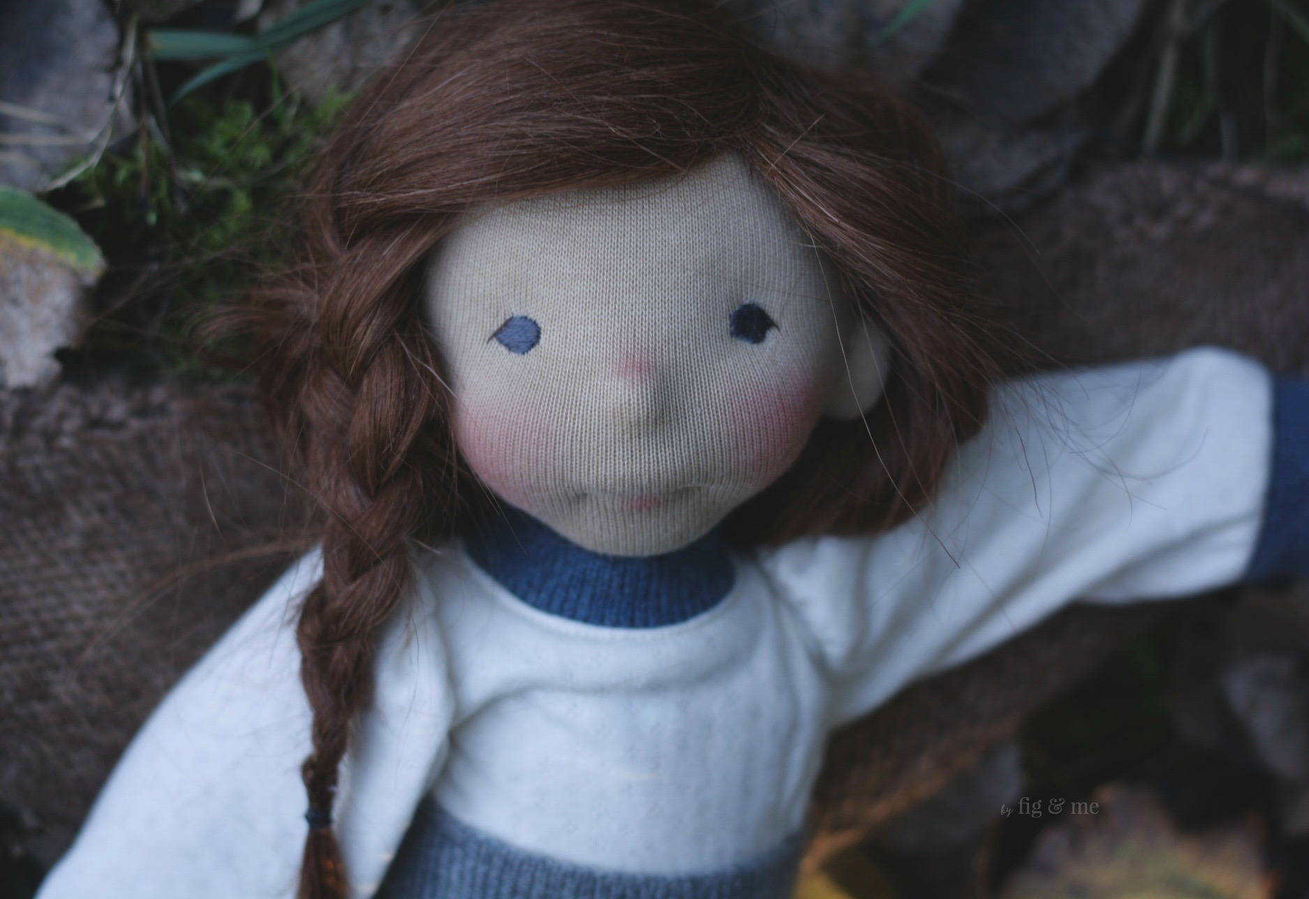 Skye, a natural fiber art doll by Fig and me.