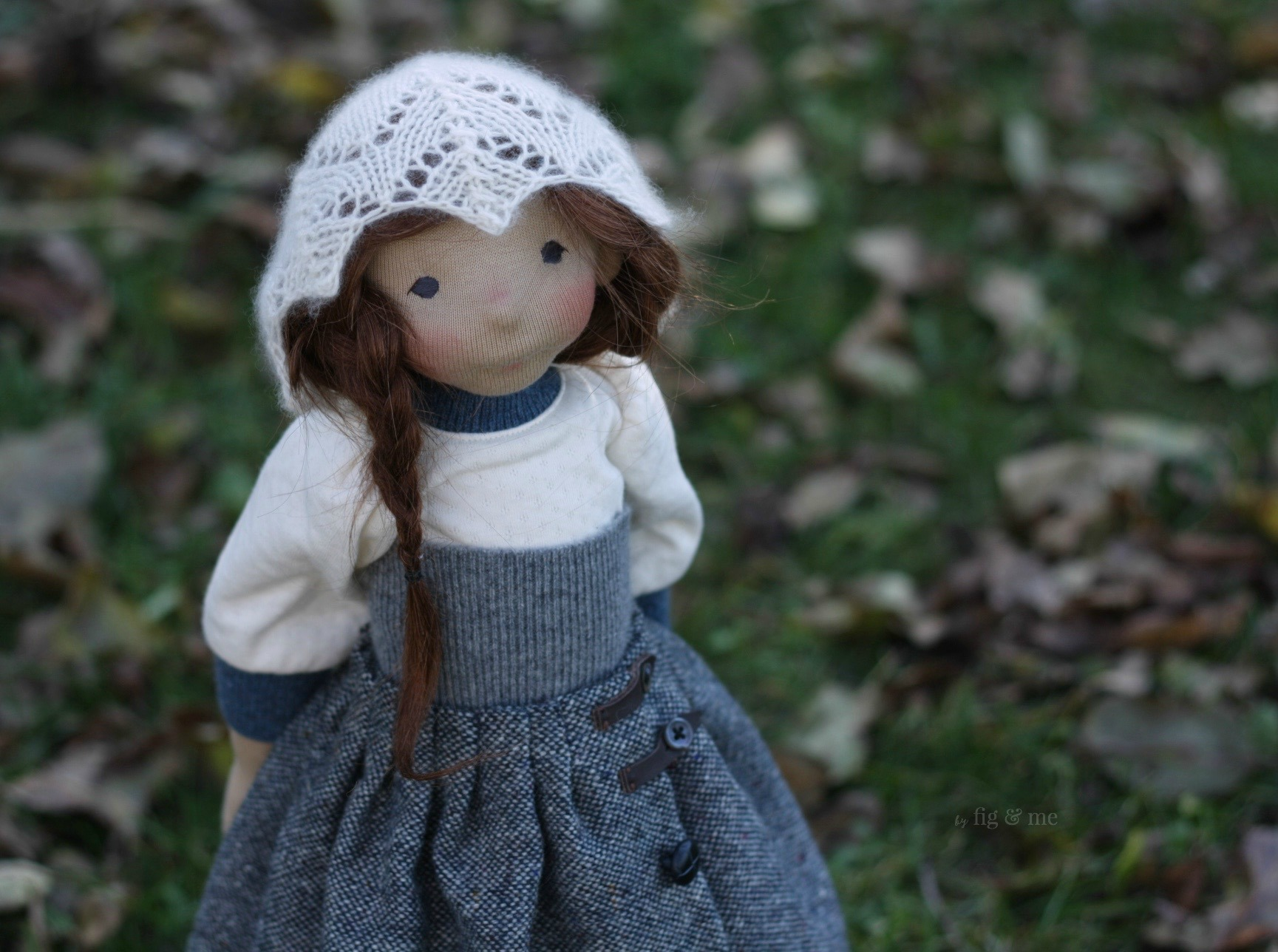 Skye, with her sweet demeanour and gentle ways, a natural fiber art doll by Fig and me.