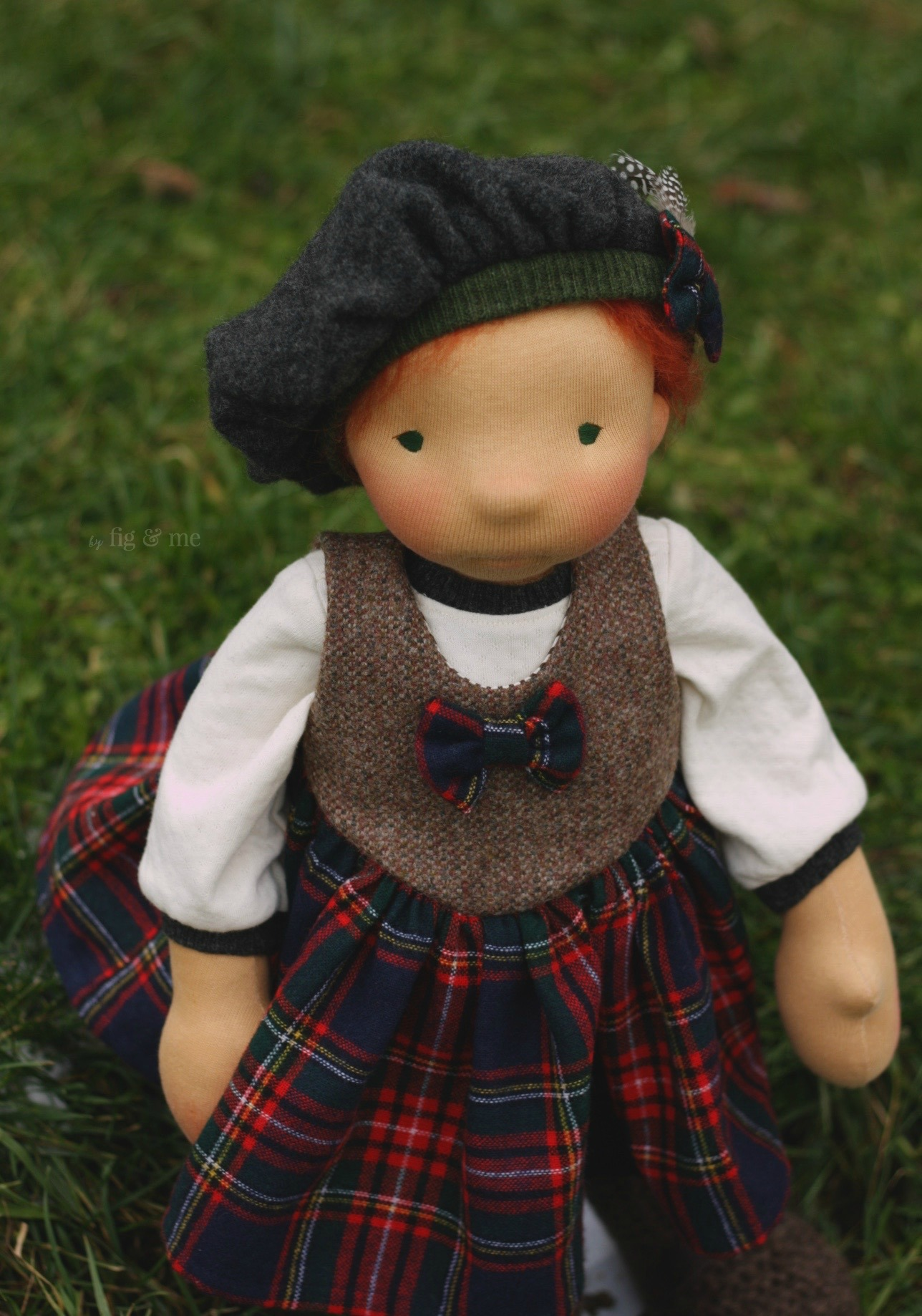"""Kilda shows off her pretty tartan and tweed dress. Kilda is a natural fiber art doll of the 20"""" tall variety, made with love by Fig and Me."""