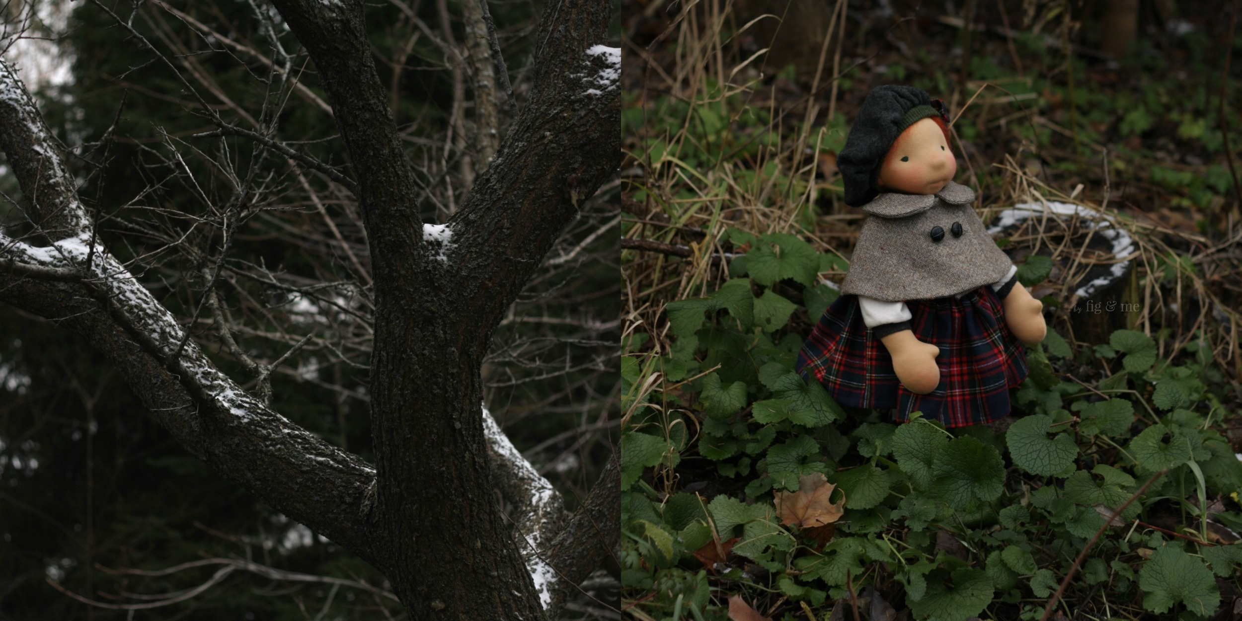 Kilda, a natural fiber art doll made by Fig and Me.