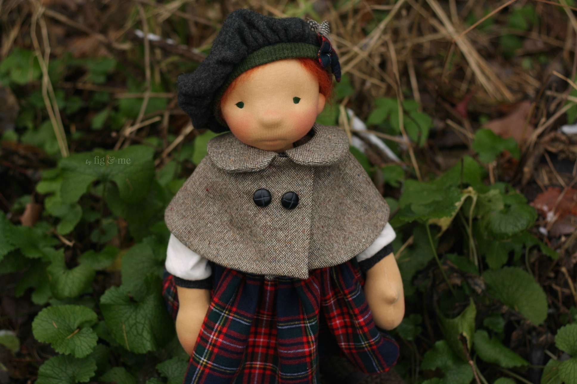 Sweet Kilda, a natural fiber art doll ready to play, by Fig and Me.