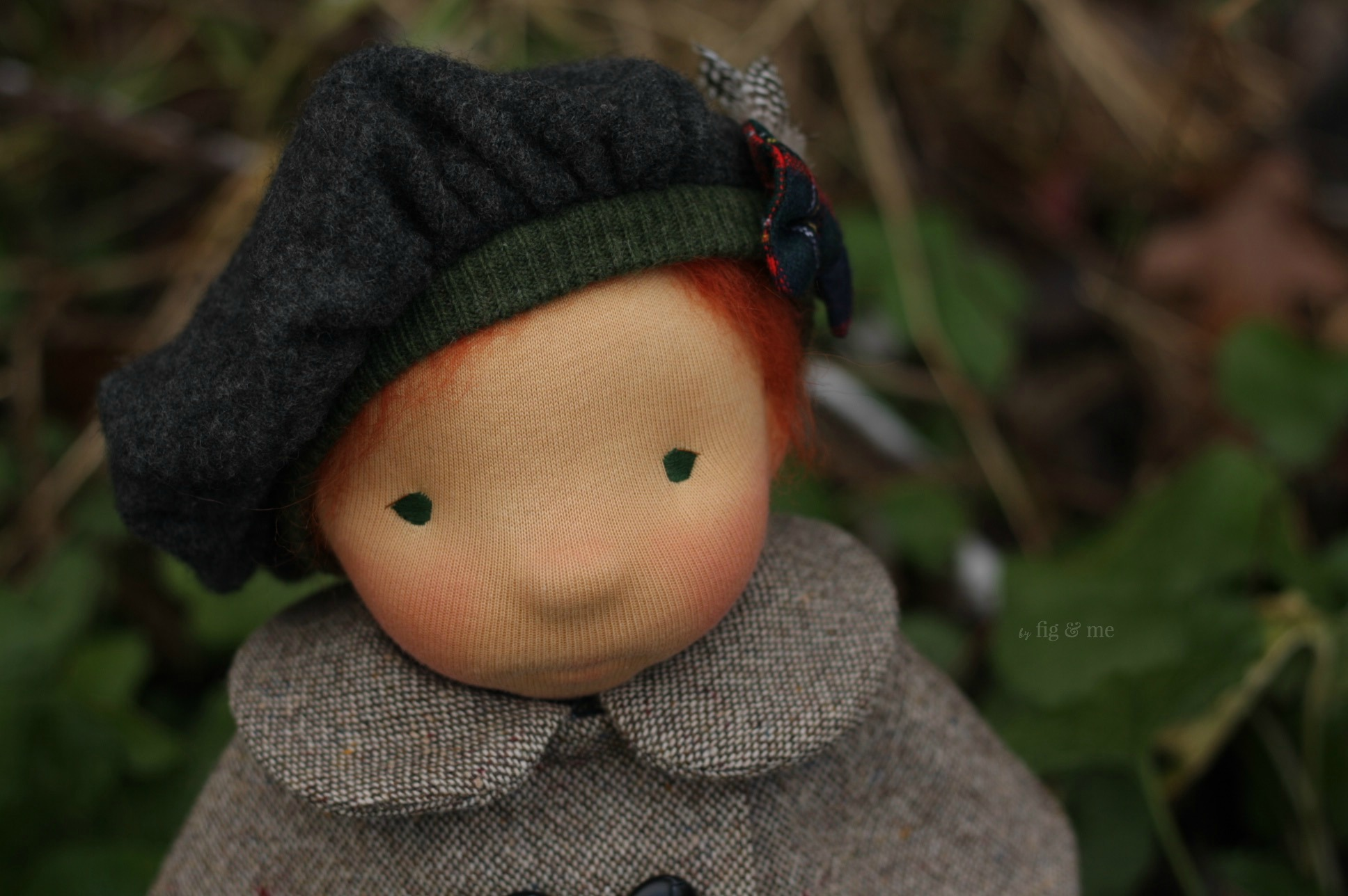Sweet Kilda, a natural fiber art doll ready to play. By Fig and Me.