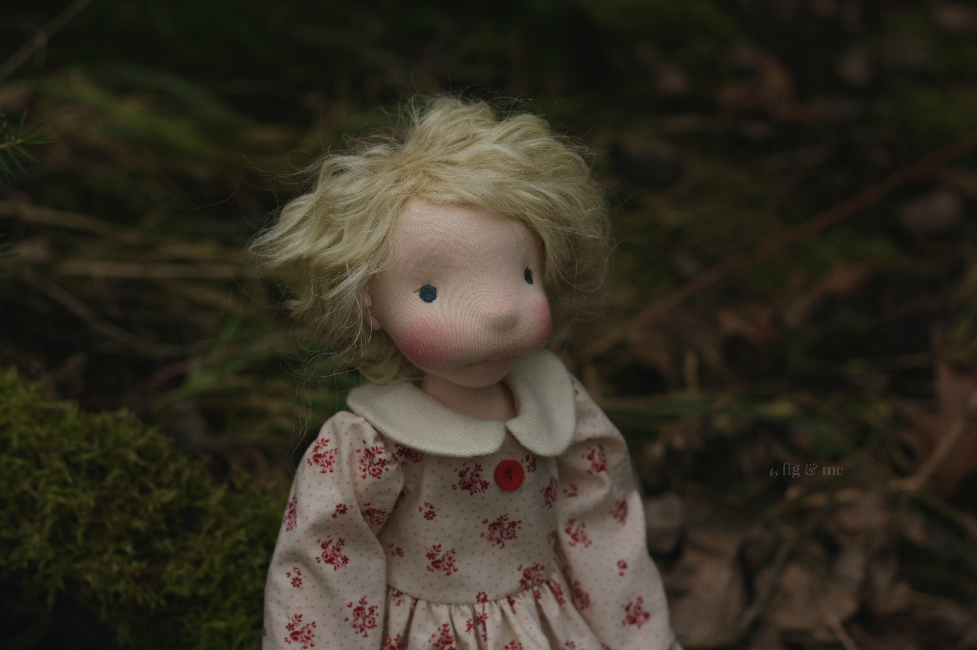 Freyja in the forest, a natural fiber art doll ready to play, via Fig and Me.