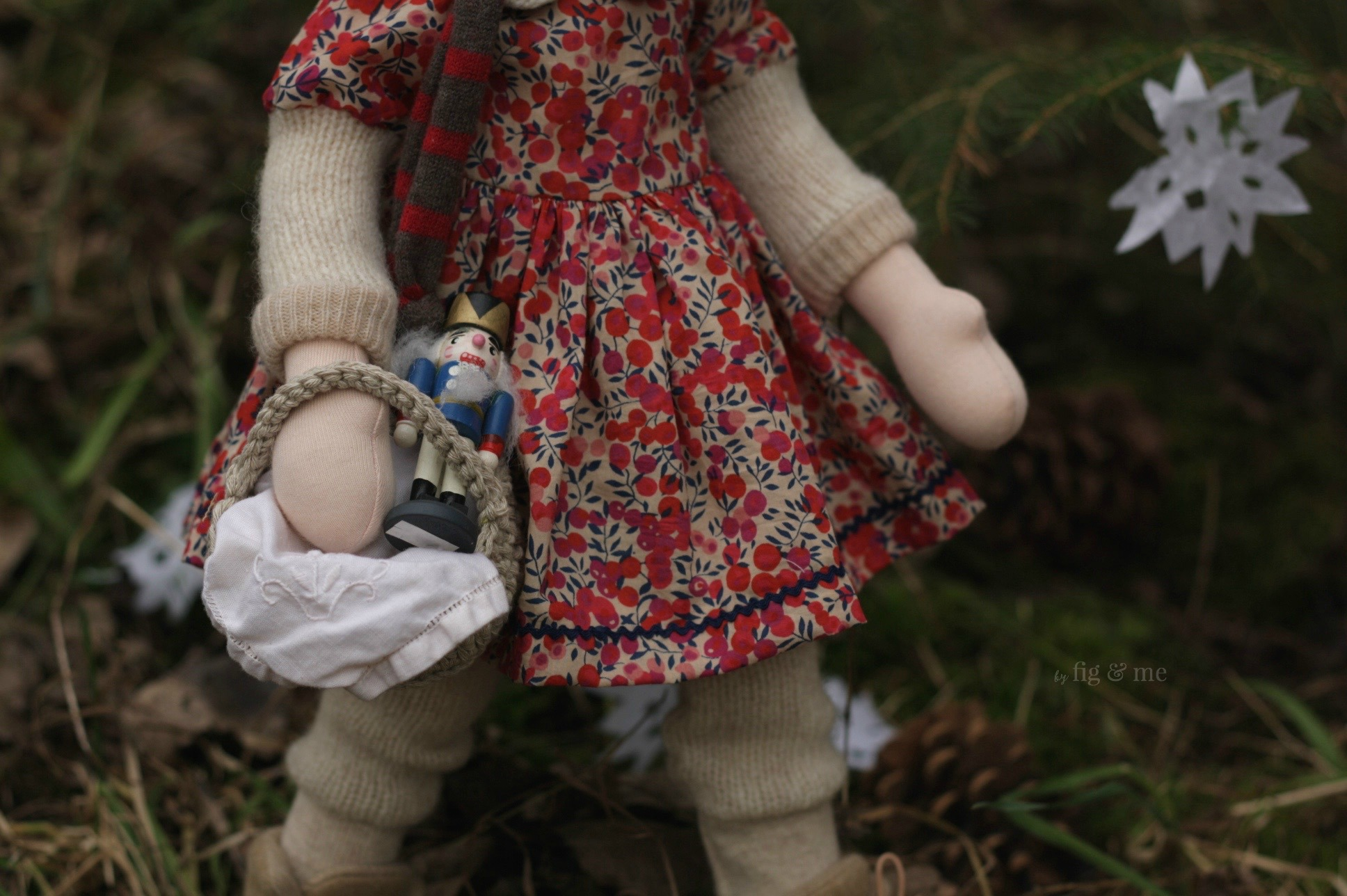 Carrying baskets with provisions and a new toy, wearing lovely Liberty of London of course.by Fig and Me.