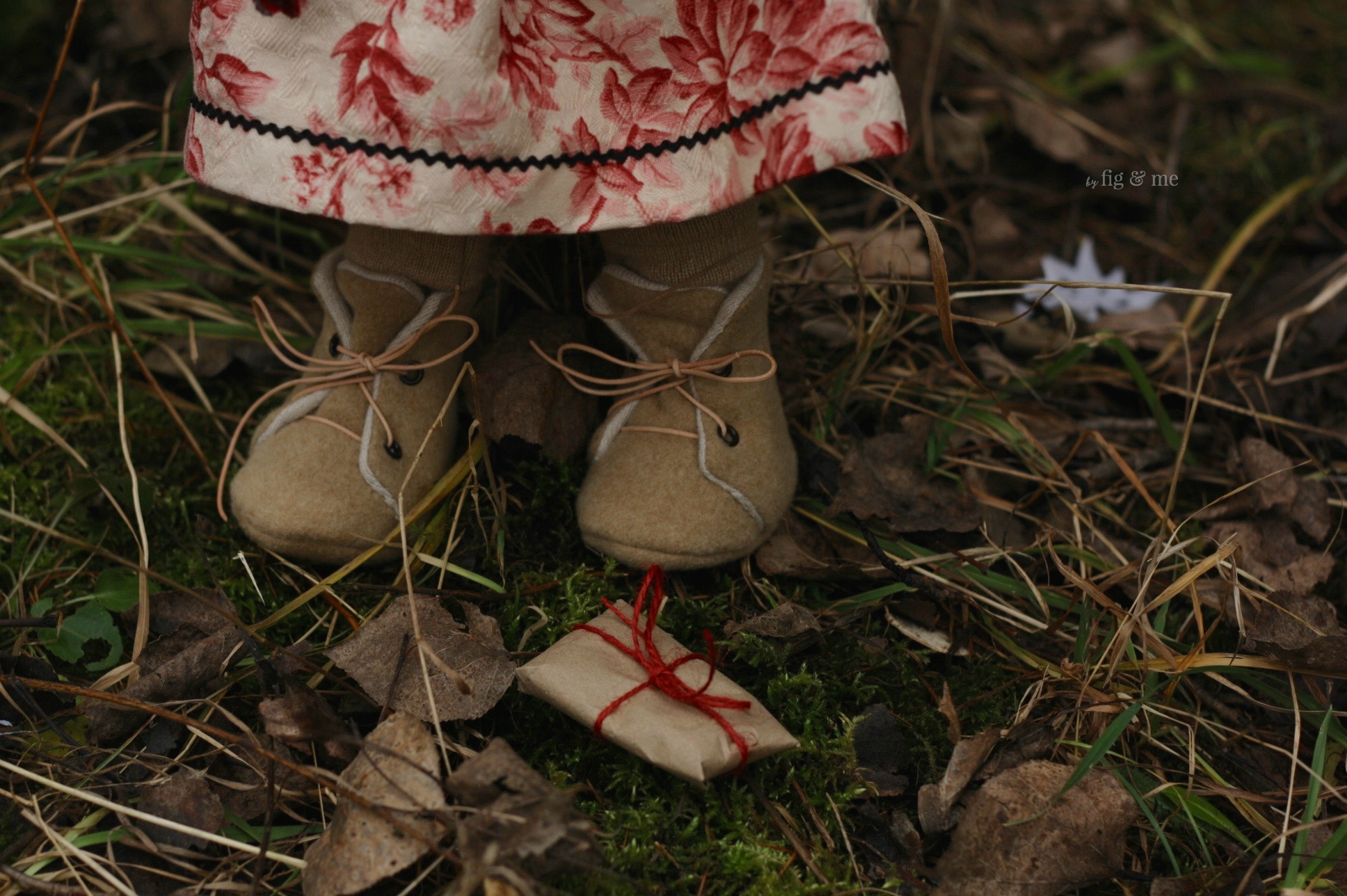 Little wool boots and brown paper packages, by Fig and Me.