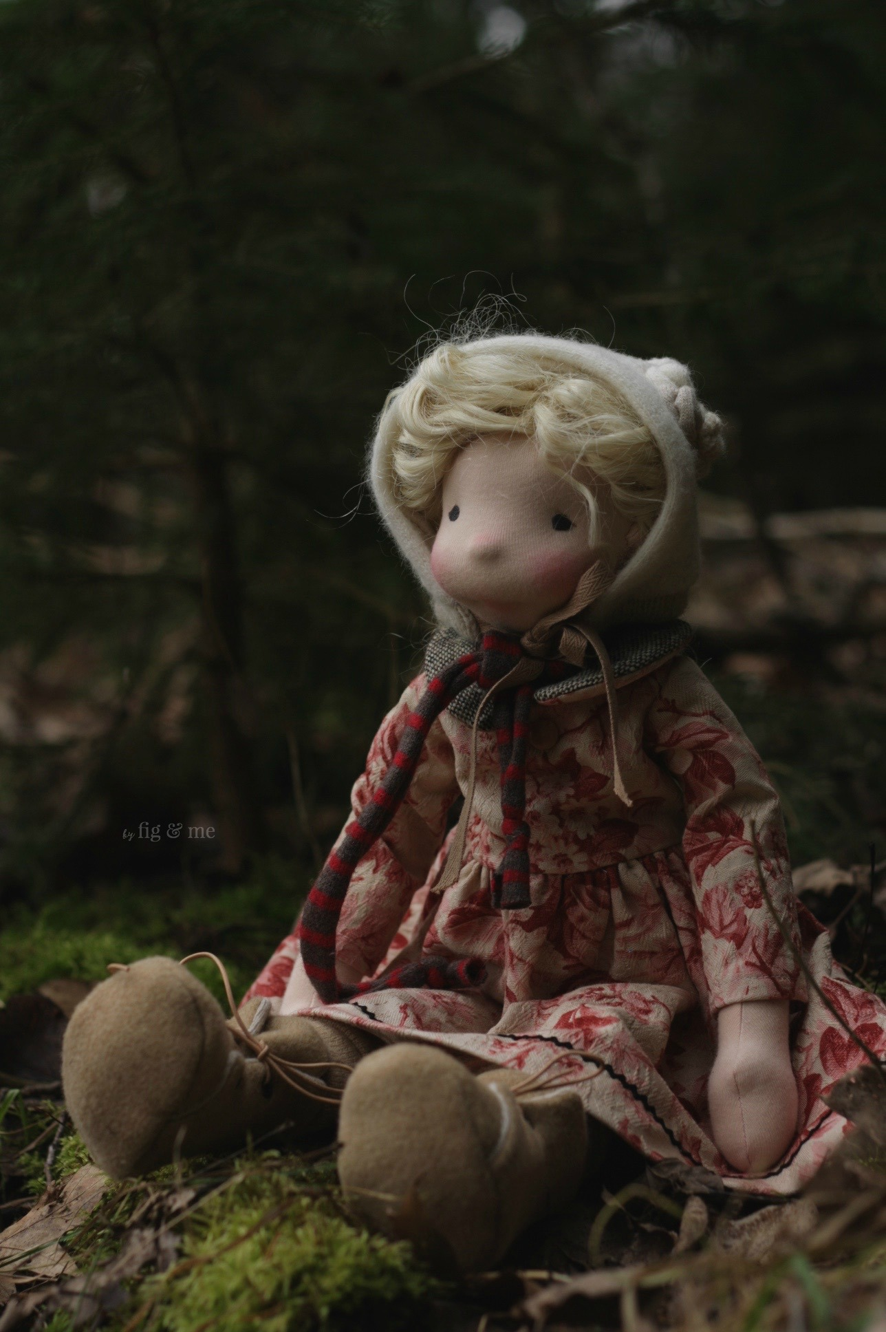 Sigrún, a natural fiber art doll by Fig and Me.