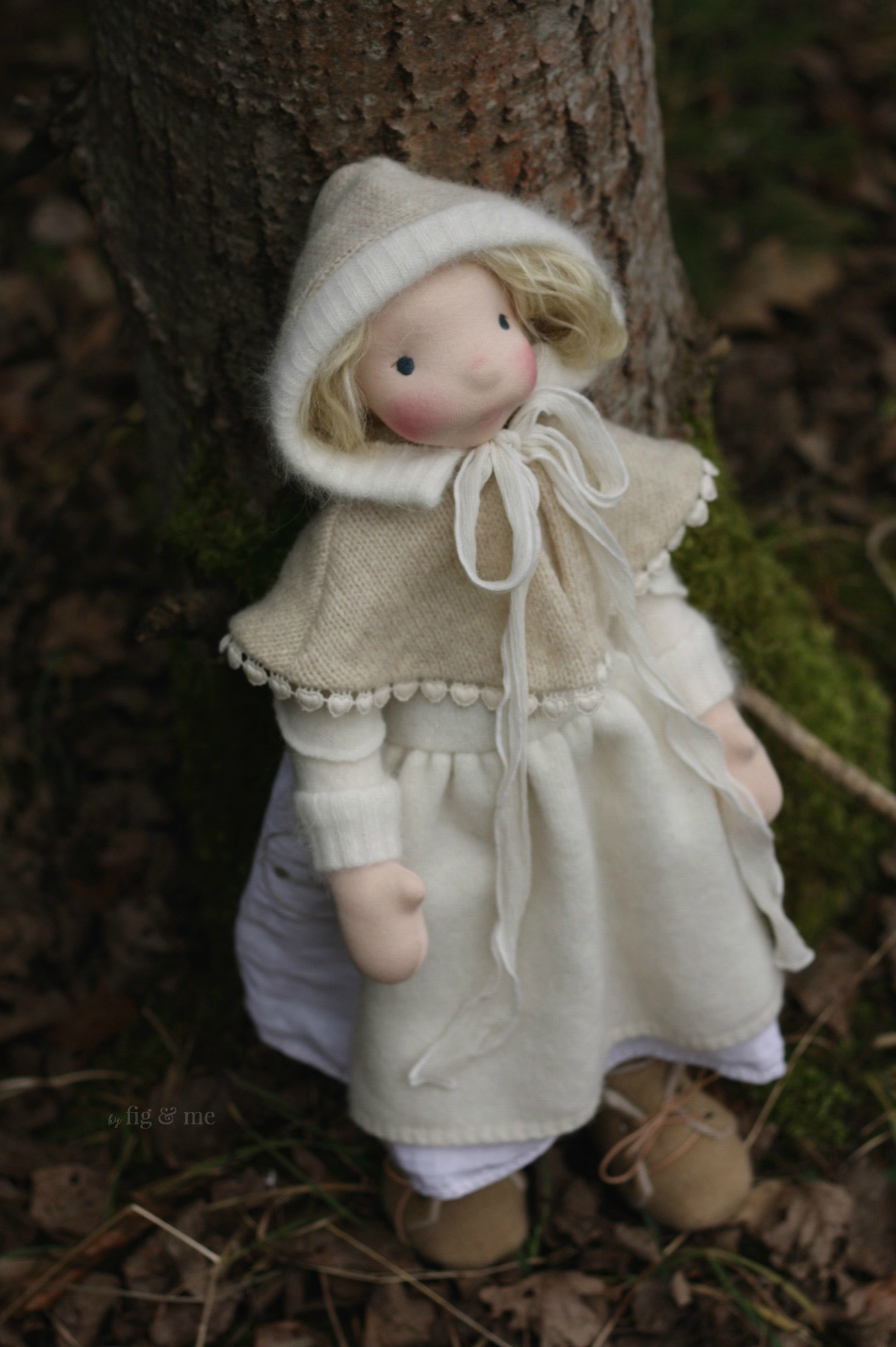 Freyja in her winter gown, by Fig and Me.