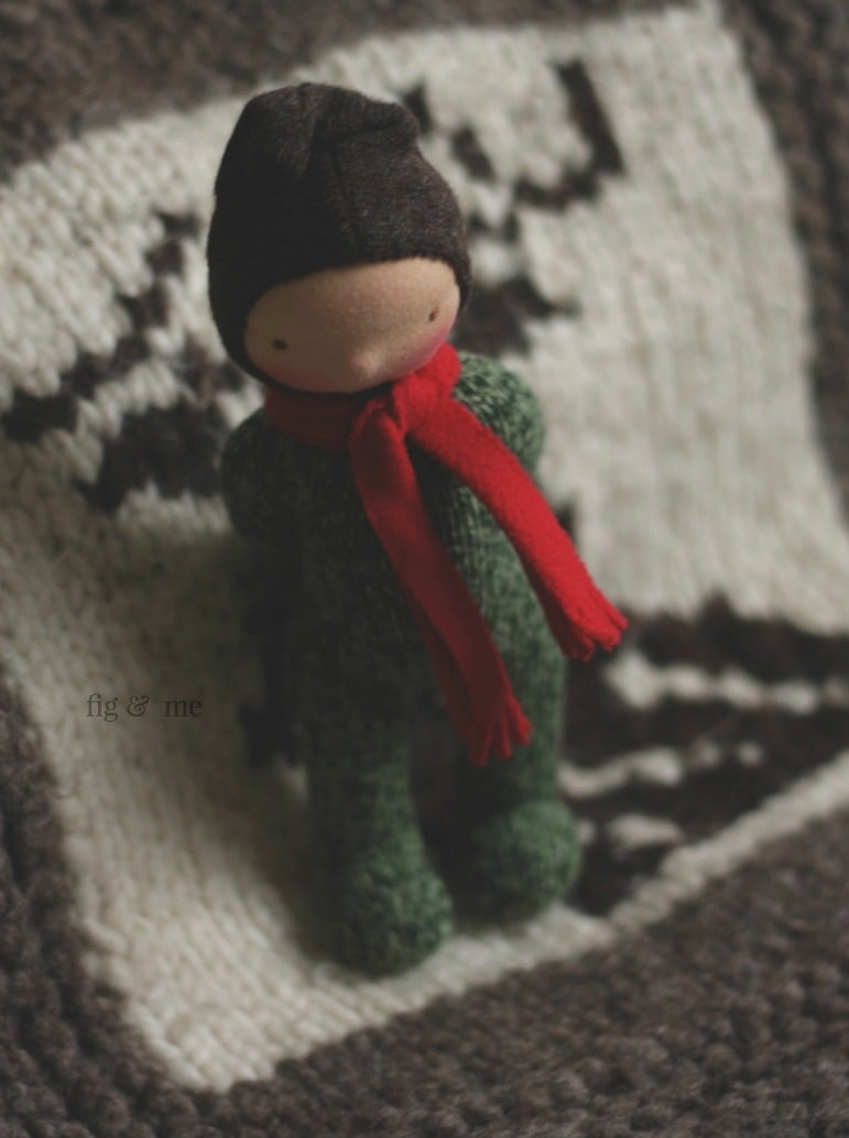 Wee Baby, very pensive. Made with repurposed wool sweater, via Fig and Me.