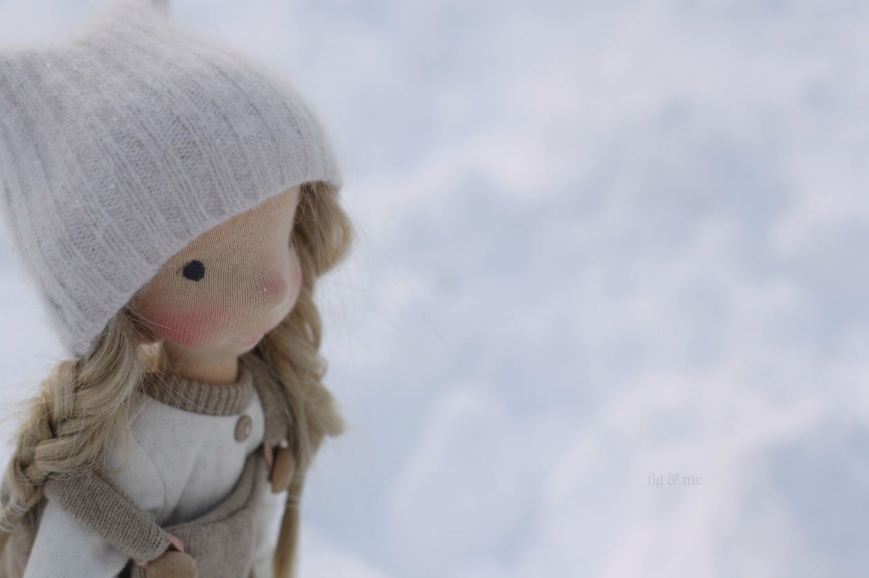 Little snowflakes on your nose Nova, a natural fiber art doll, Mannikin style by Fig and Me.
