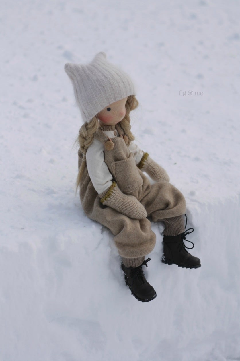 Sitting to take a break, Nova: a natural fiber art doll by Fig and Me.