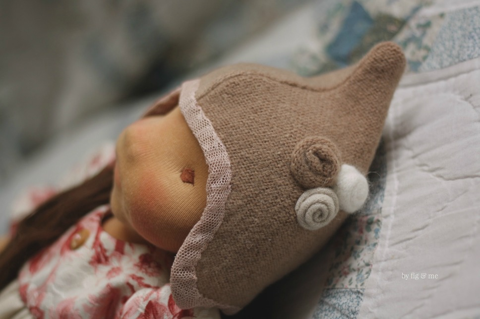 Isabella and her cashmere-wool chapeau, a custom doll by Fig and Me.