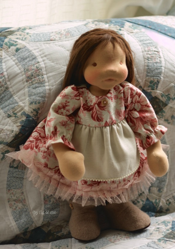 Isabella, a natural fiber art doll by Fig and Me.