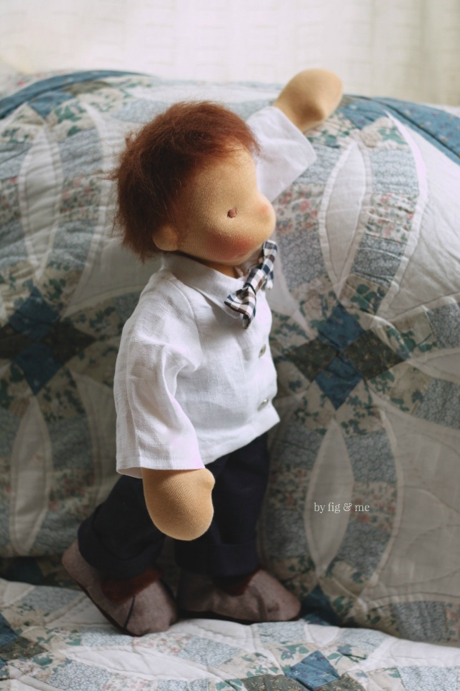 Xavier, a natural fiber art doll by Fig and Me.