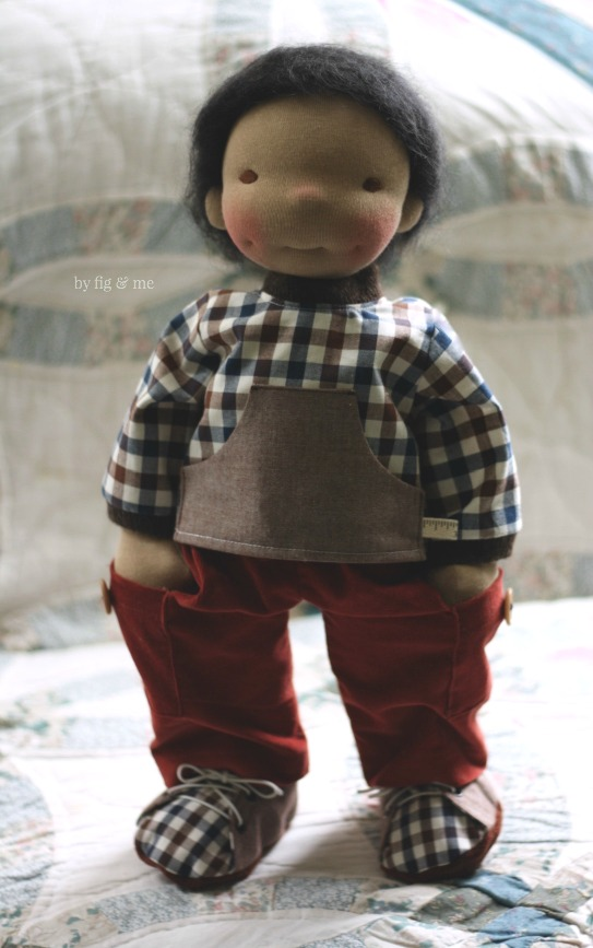 Ryan, a natural custom made cloth doll by Fig and me.