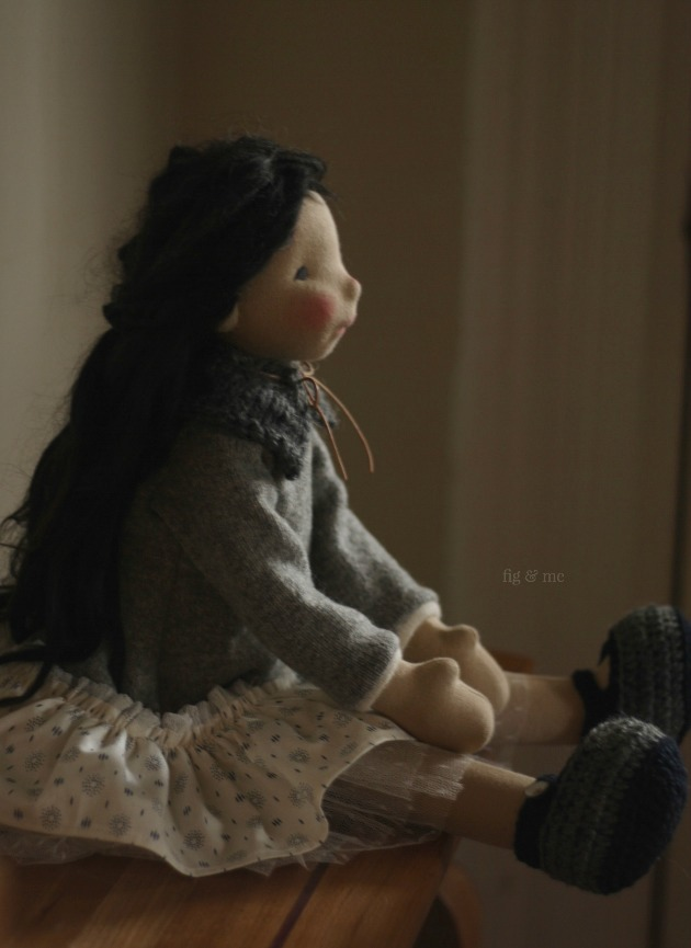 Kasumi, a natural fiber art doll by Fig and Me.